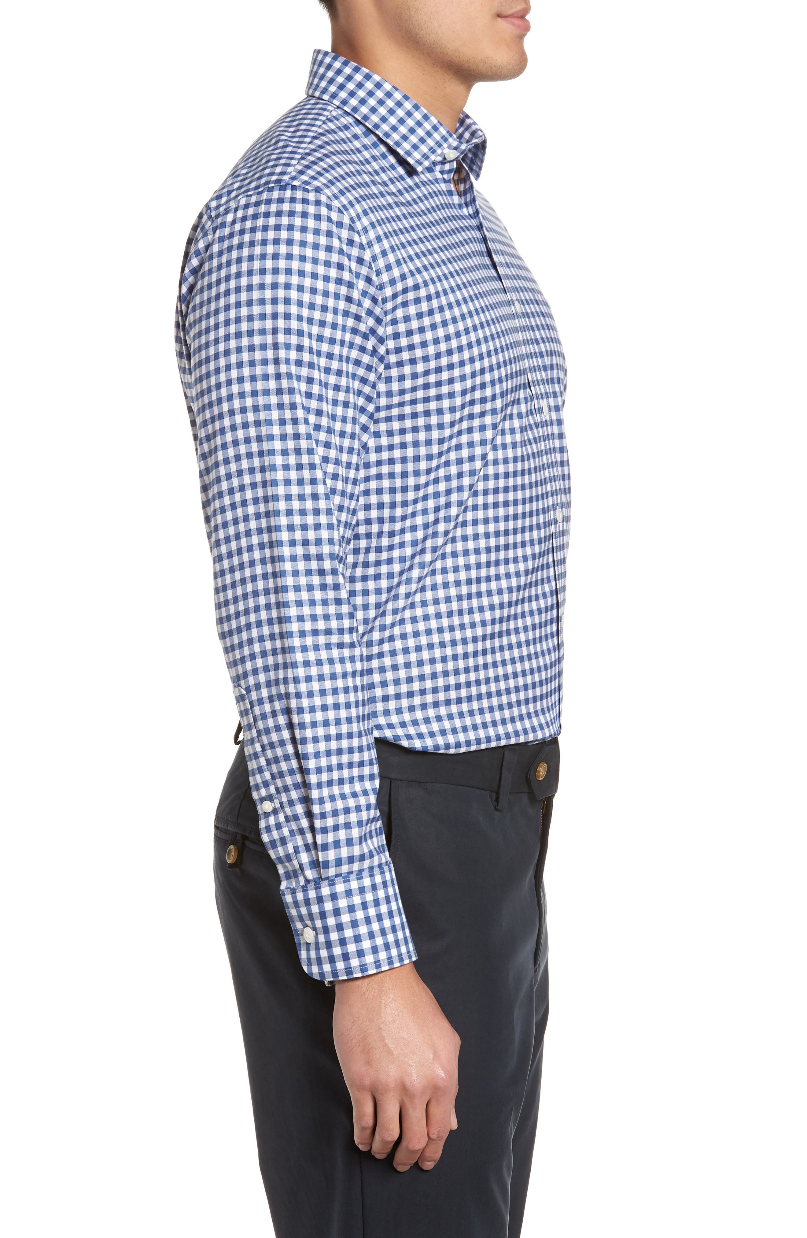Smartcare<sup>™</sup> Trim Fit Check Dress Shirt,                             Alternate thumbnail 4, color,                             Blue Canal