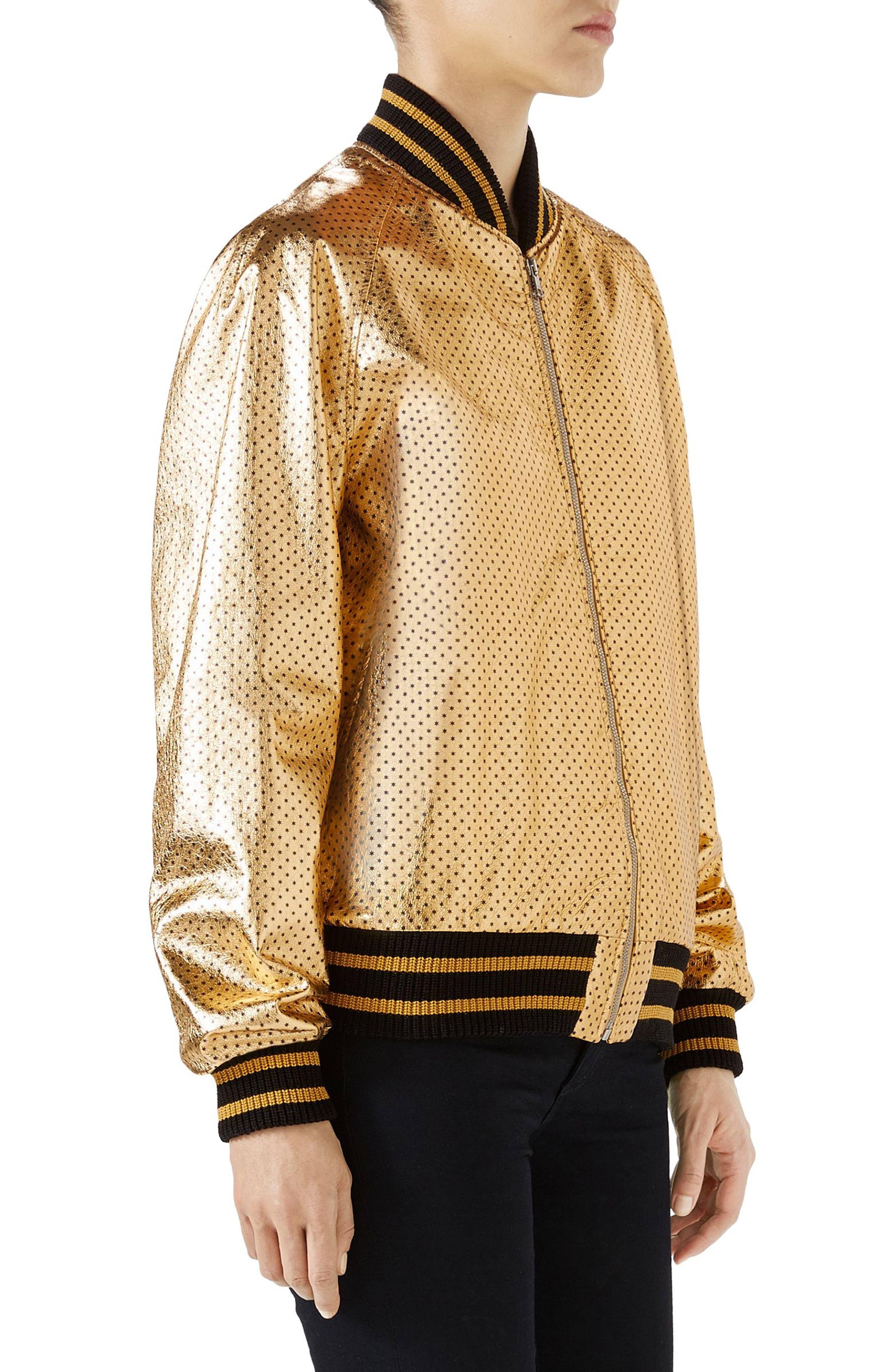 Metallic Perforated Leather Bomber Jacket,                             Alternate thumbnail 3, color,                             Gold/ Black