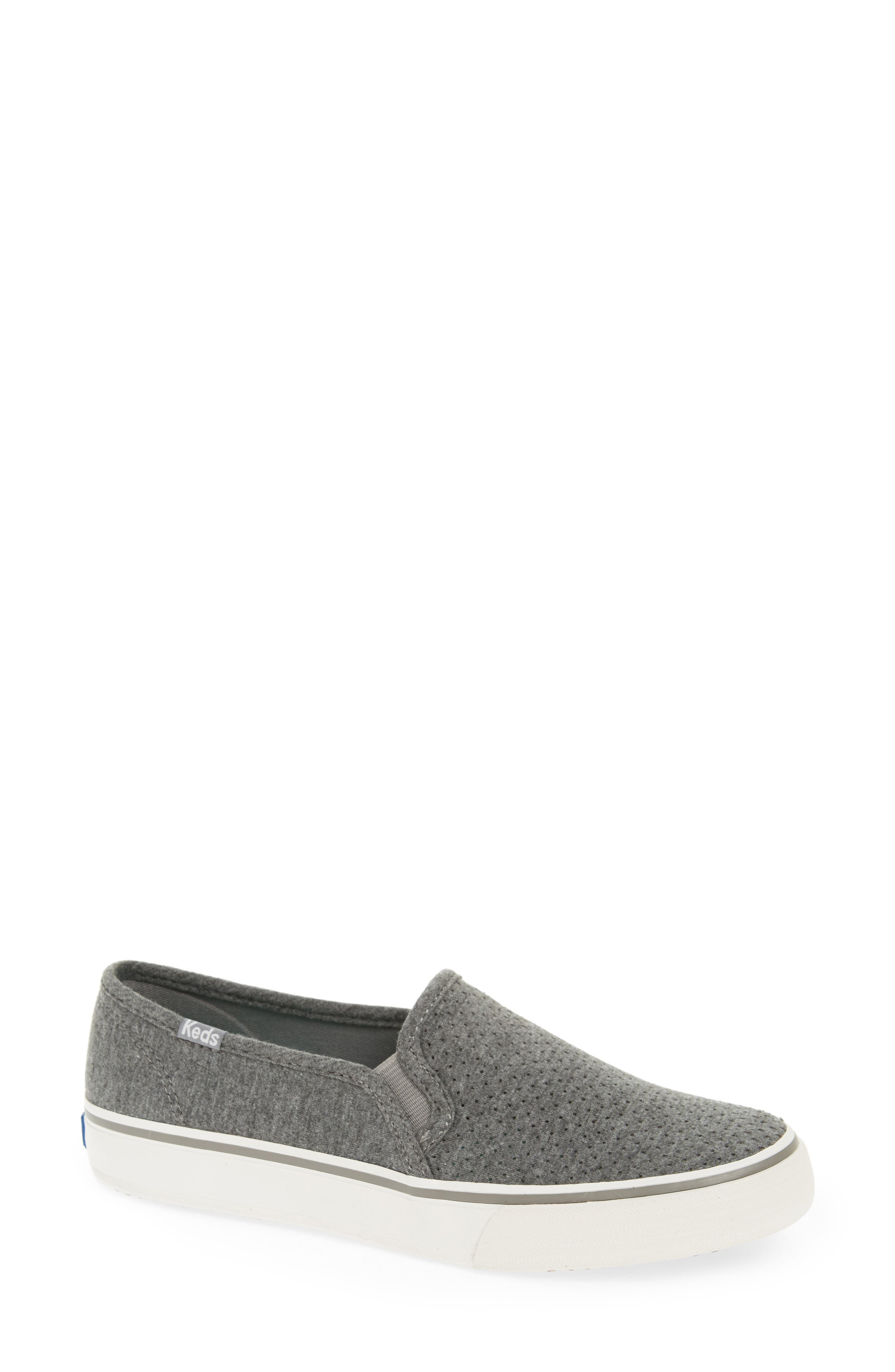Double Decker Perforated Slip-On Sneaker,                             Main thumbnail 1, color,                             Charcoal