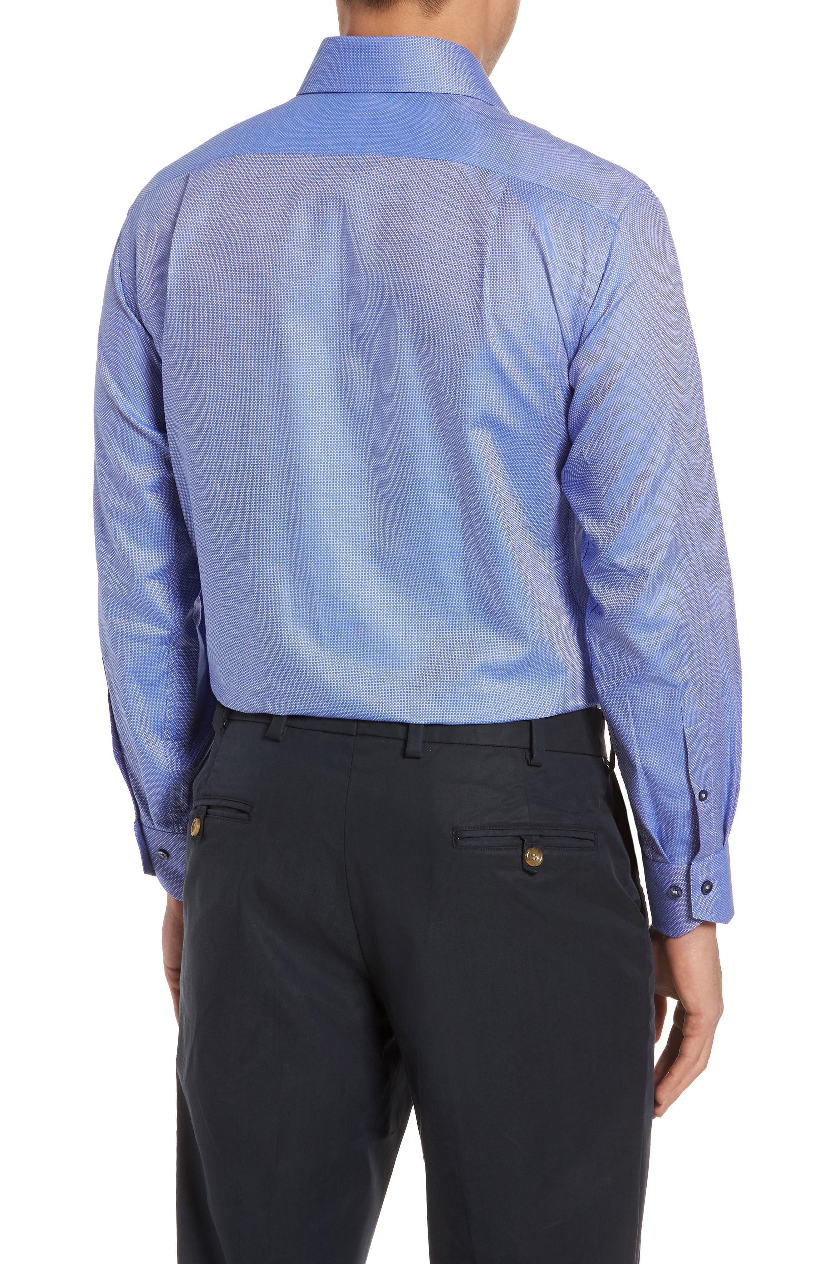 Trim Fit Textured Dress Shirt,                             Alternate thumbnail 3, color,                             Navy