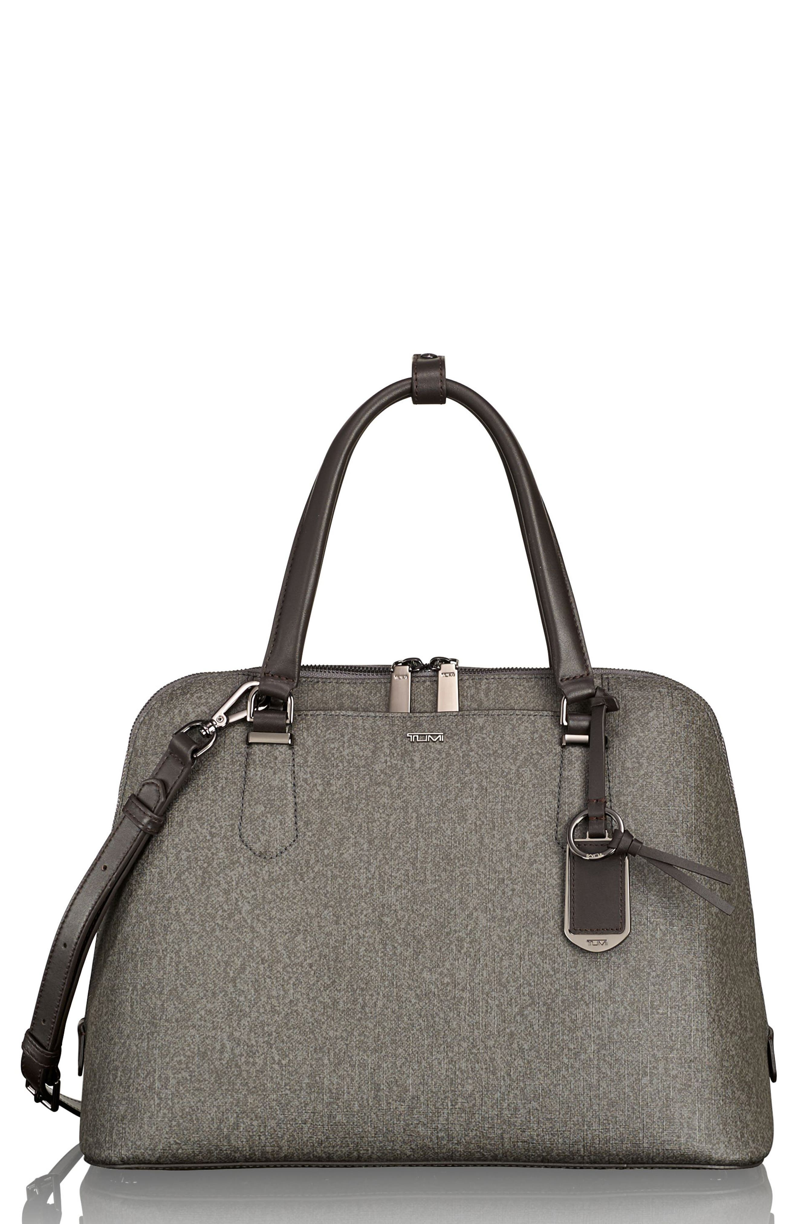Stanton – Deonne Domed Coated Canvas Satchel,                             Main thumbnail 1, color,                             Earl Grey