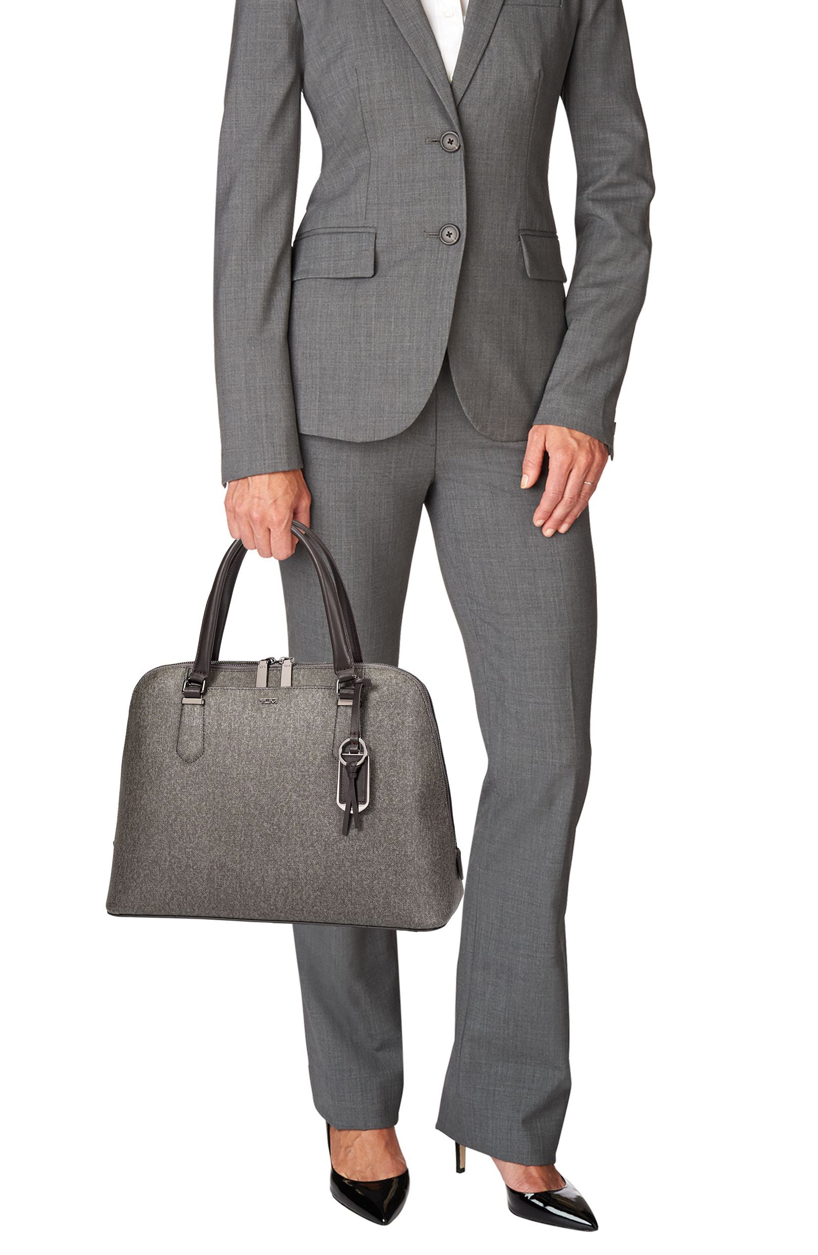 Stanton – Deonne Domed Coated Canvas Satchel,                             Alternate thumbnail 2, color,                             Earl Grey