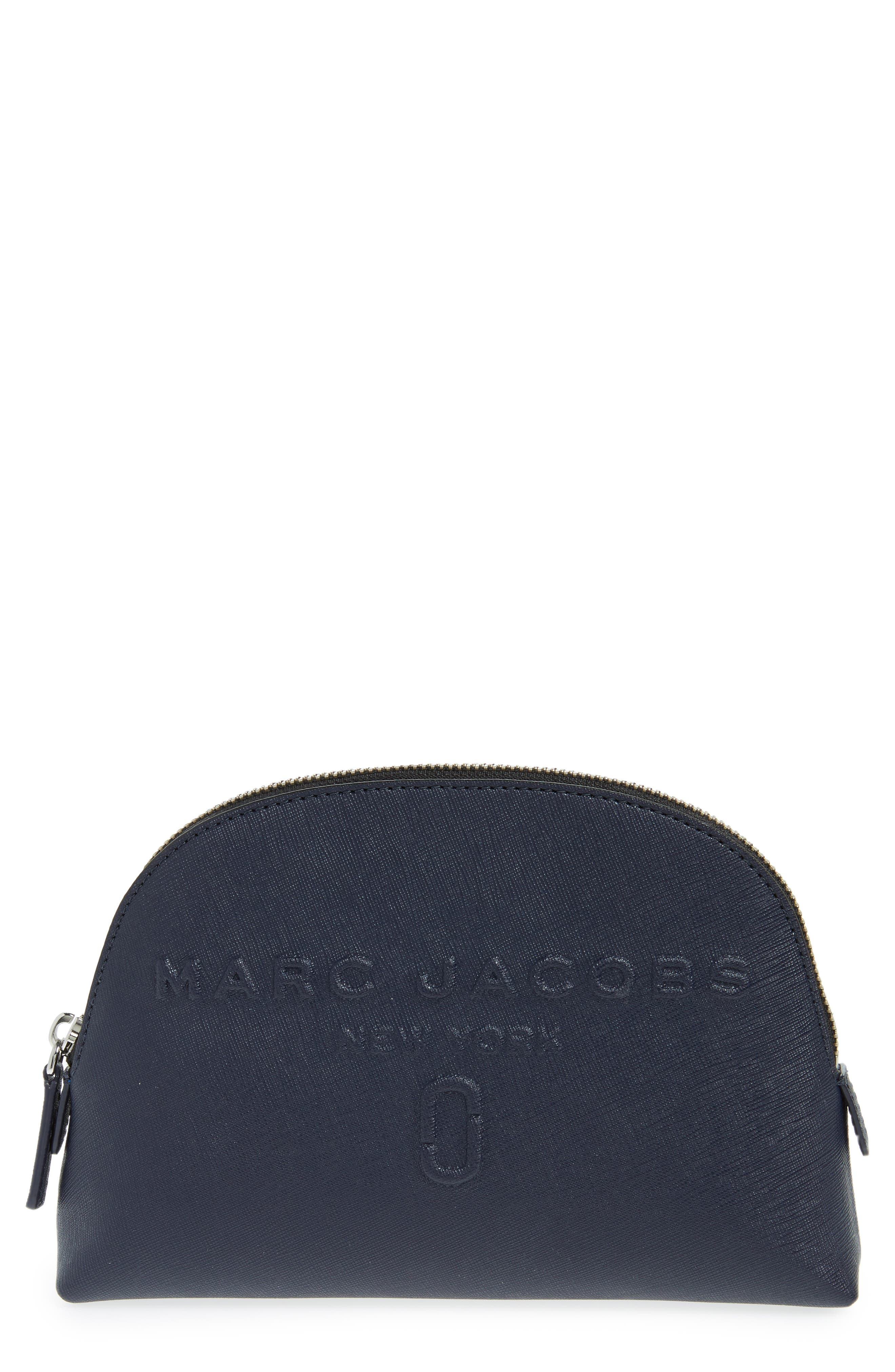 MARC JACOBS Logo Embossed Leather Cosmetics Bag