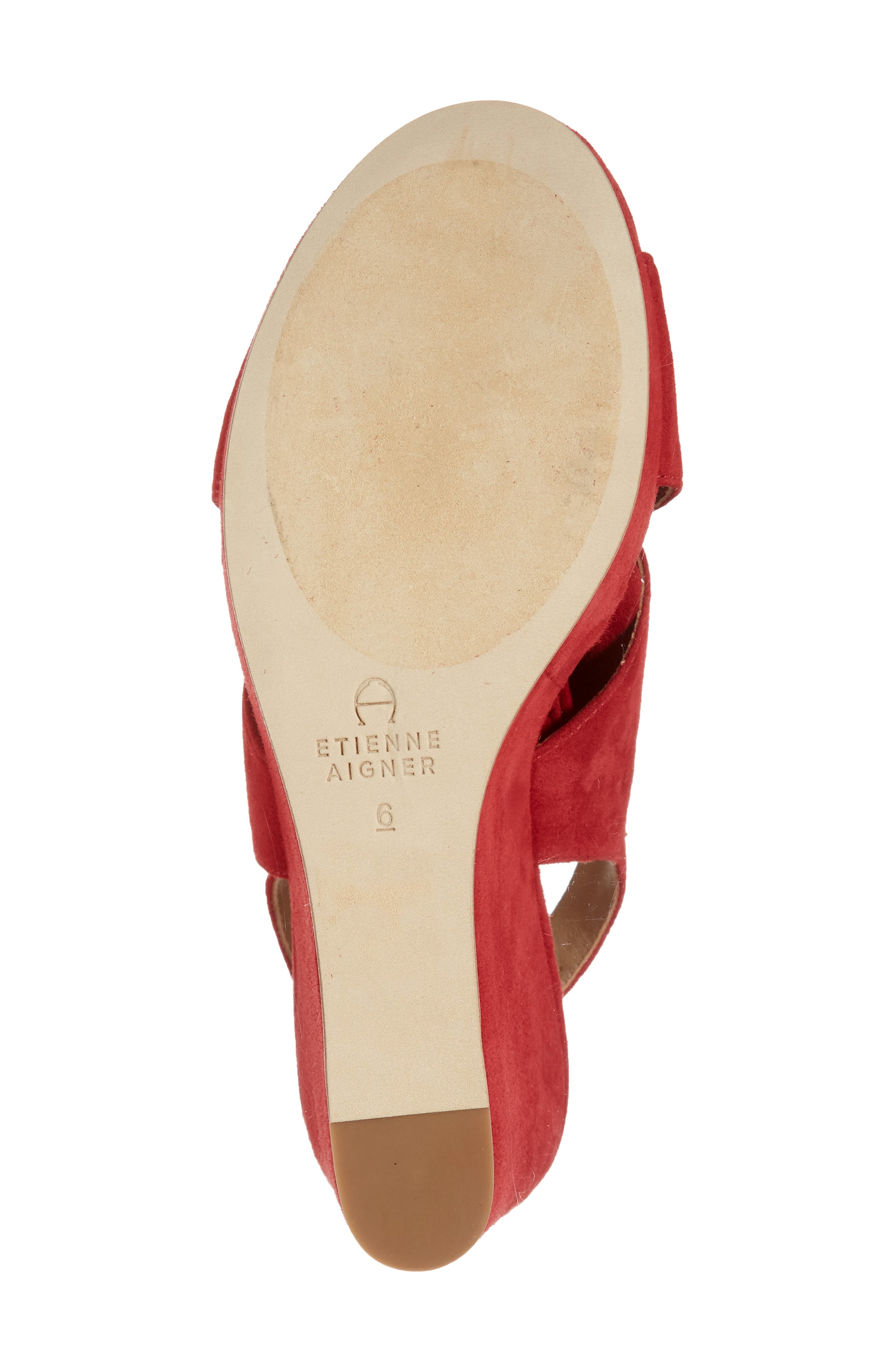 Dominica Platform Wedge Sandal,                             Alternate thumbnail 6, color,                             Cherry Suede