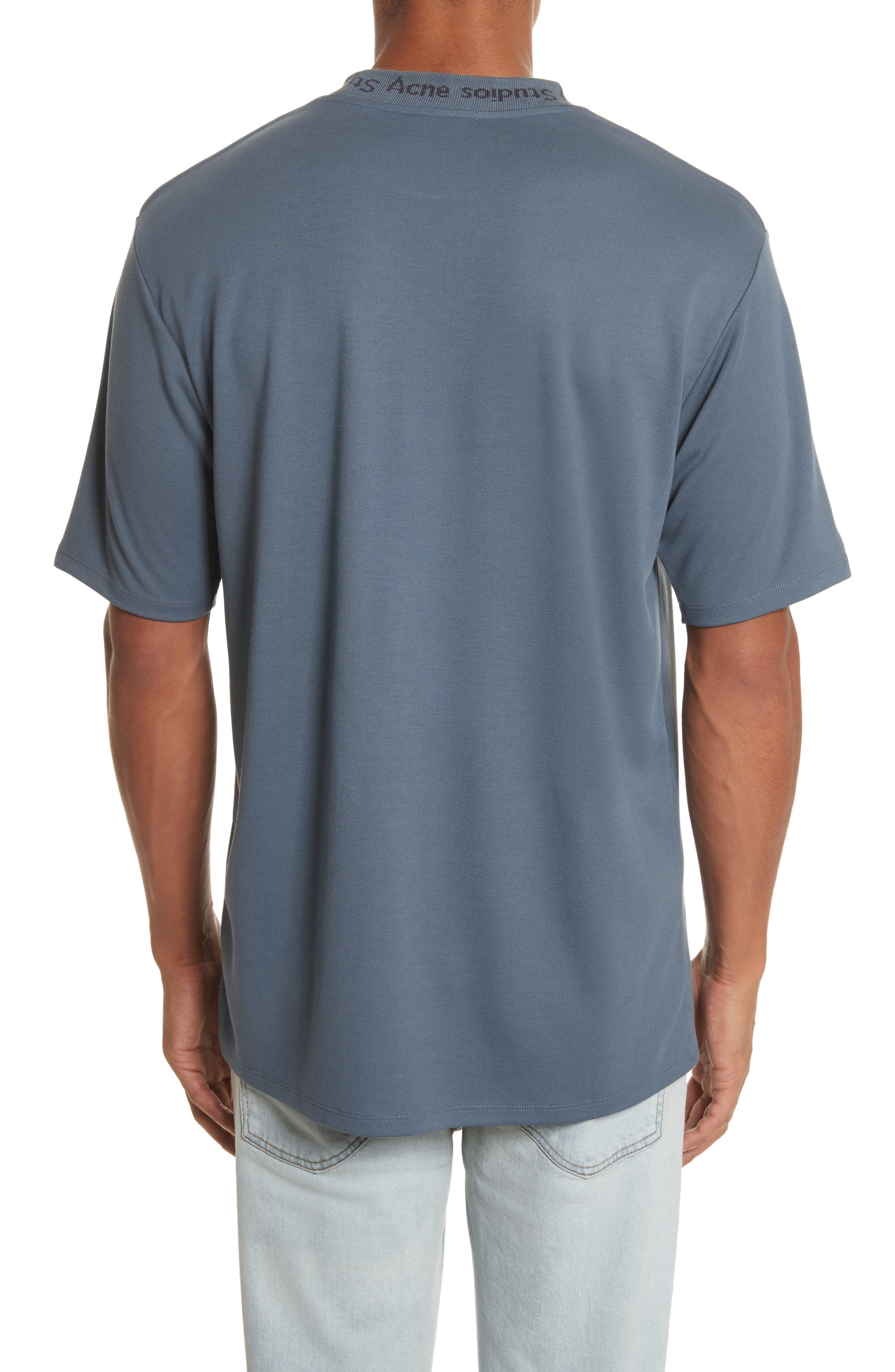 Navid Logo Collar T-Shirt,                             Alternate thumbnail 2, color,                             Pigeon Blue