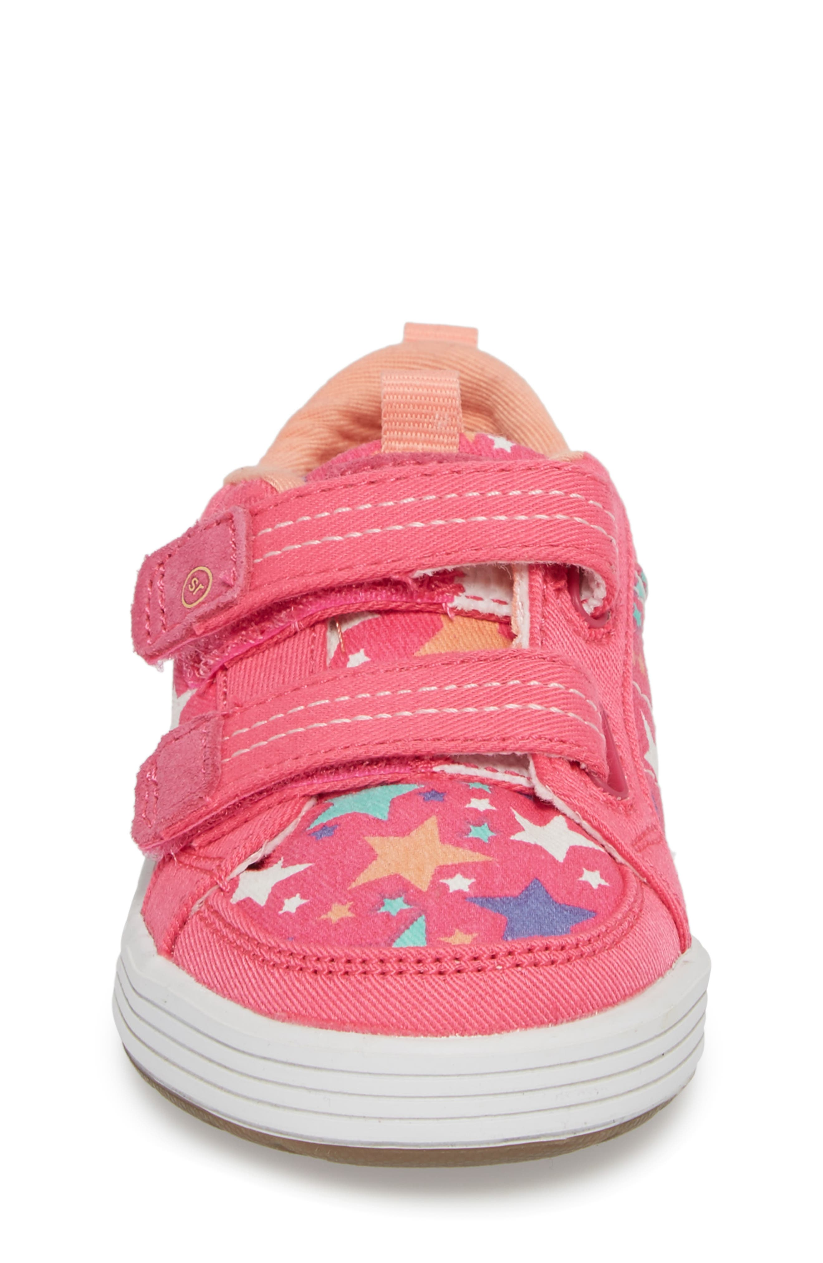 Logan Patterned Sneaker,                             Alternate thumbnail 4, color,                             Pink Star