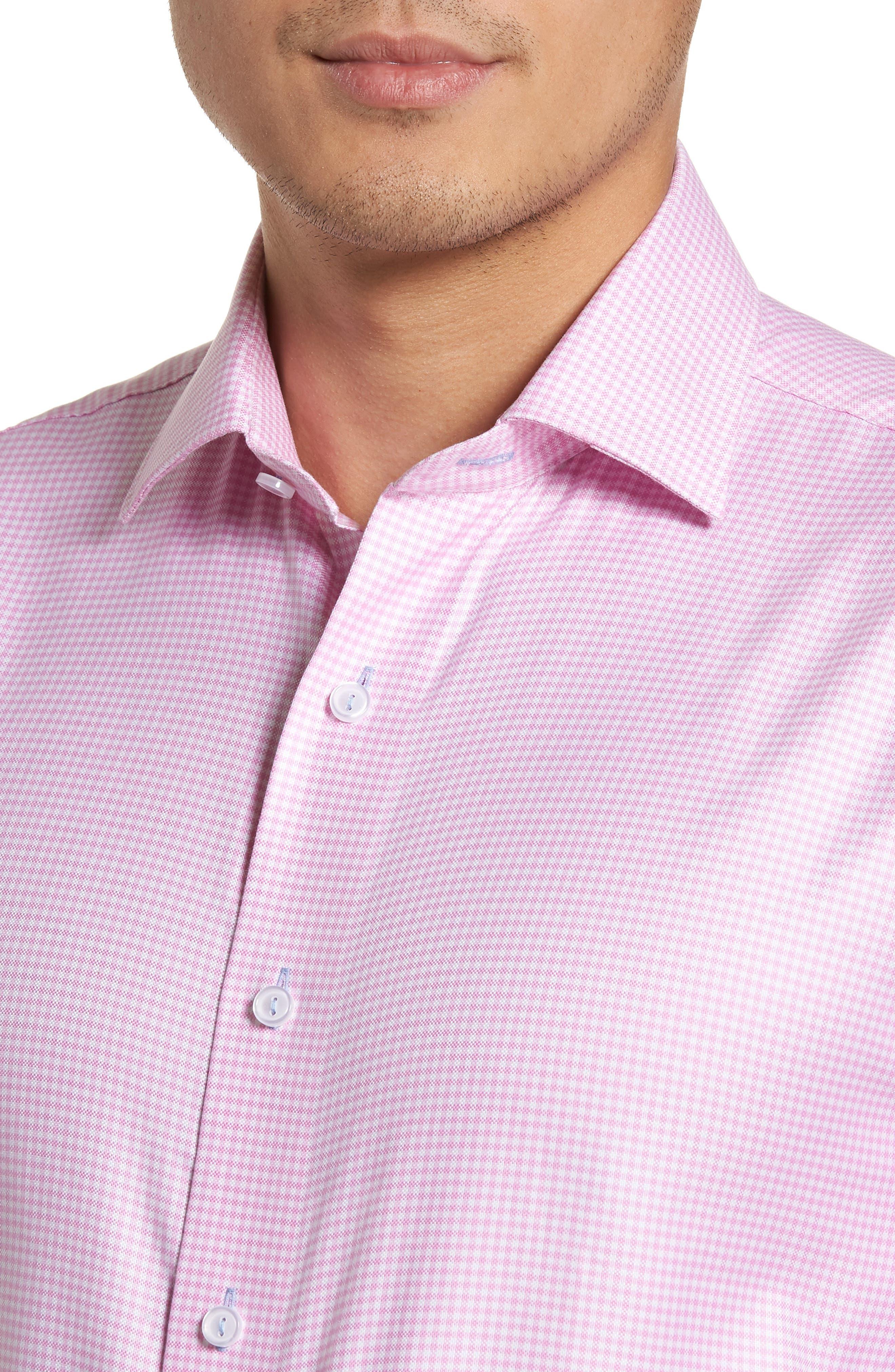 Trim Fit Textured Gingham Dress Shirt,                             Alternate thumbnail 2, color,                             Pink