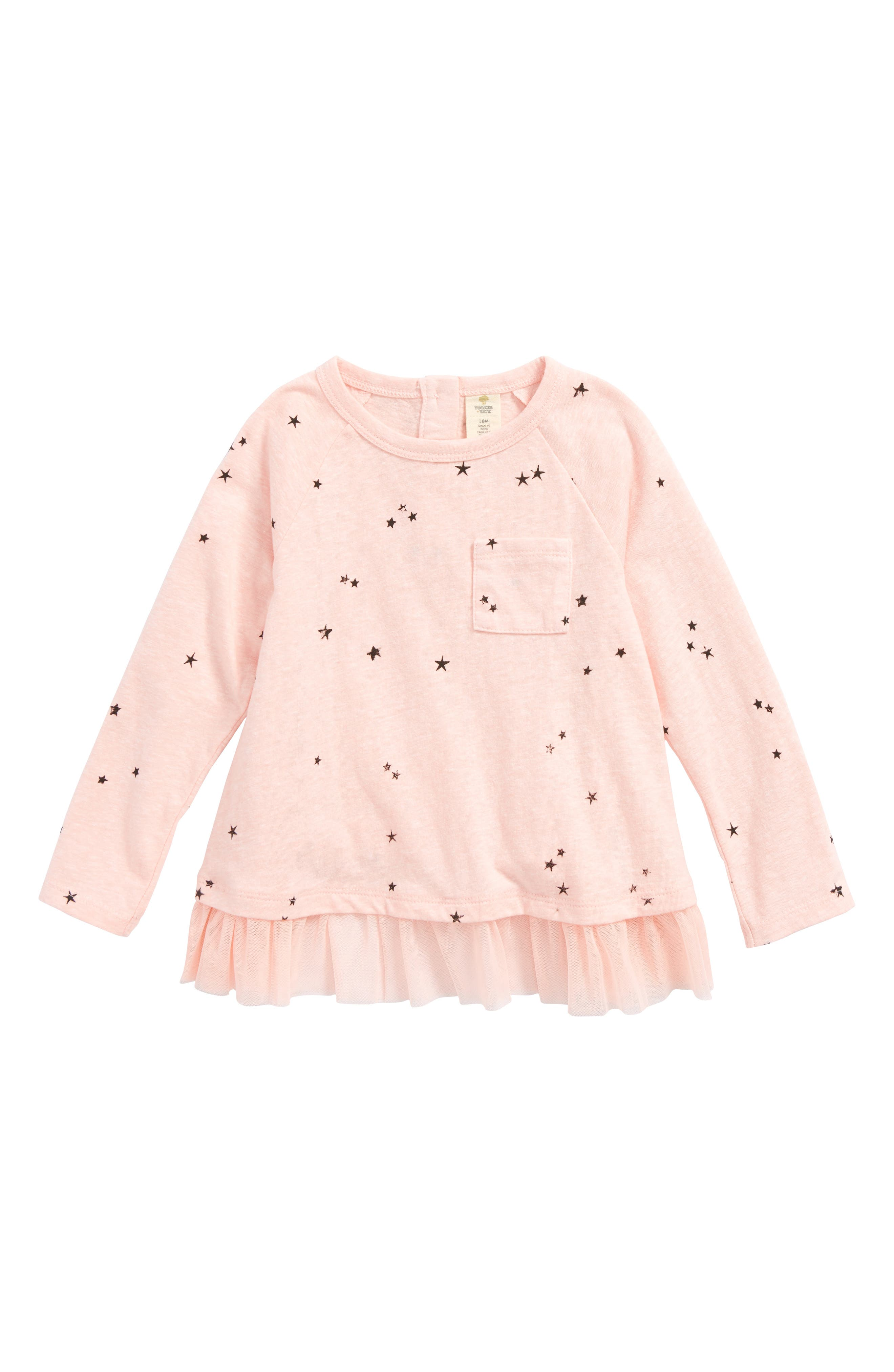 Mesh Hem Tee,                         Main,                         color, Pink Cloud Scattered Stars
