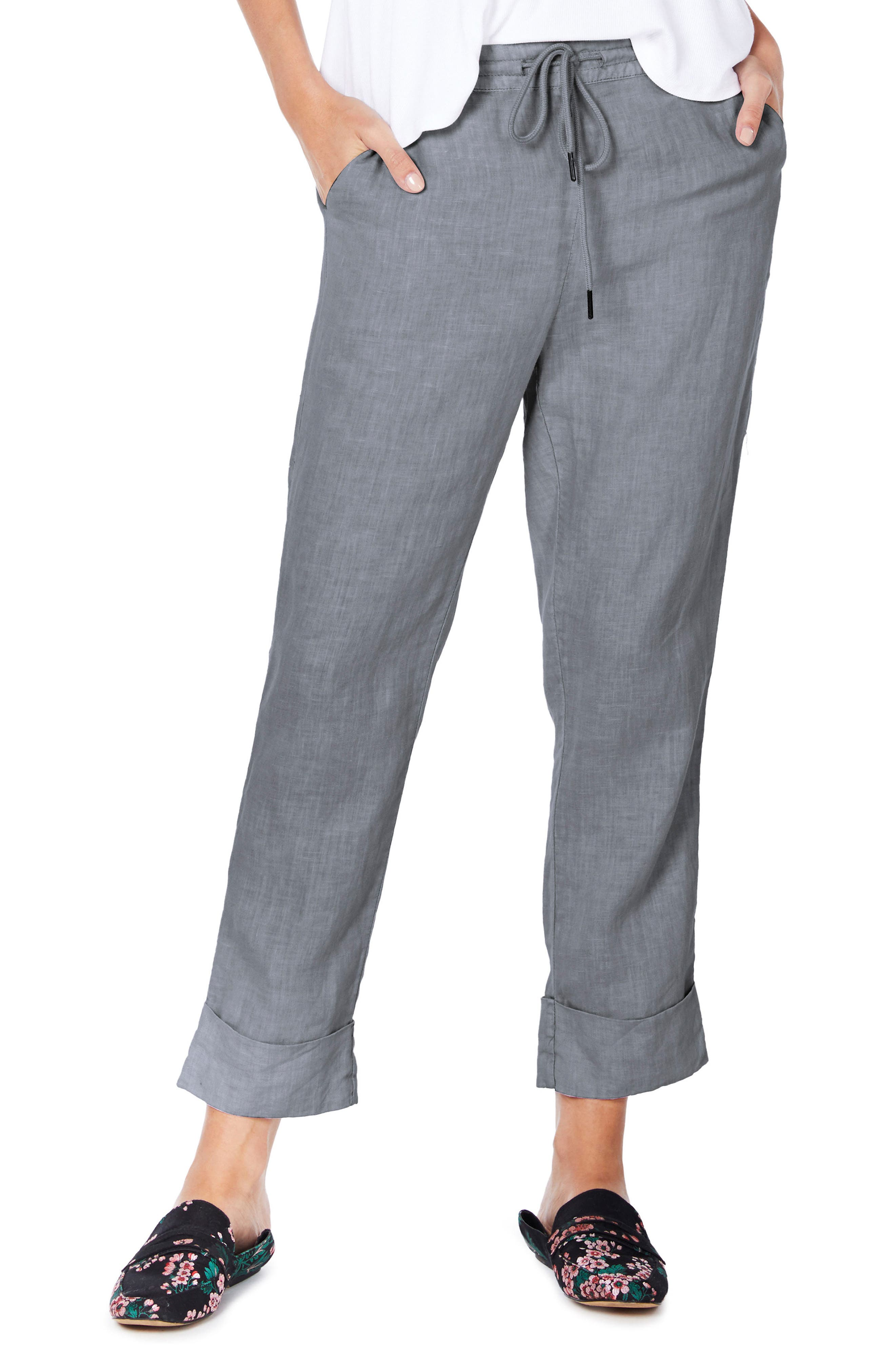 Cuffed Linen Pants,                         Main,                         color, Galvanized