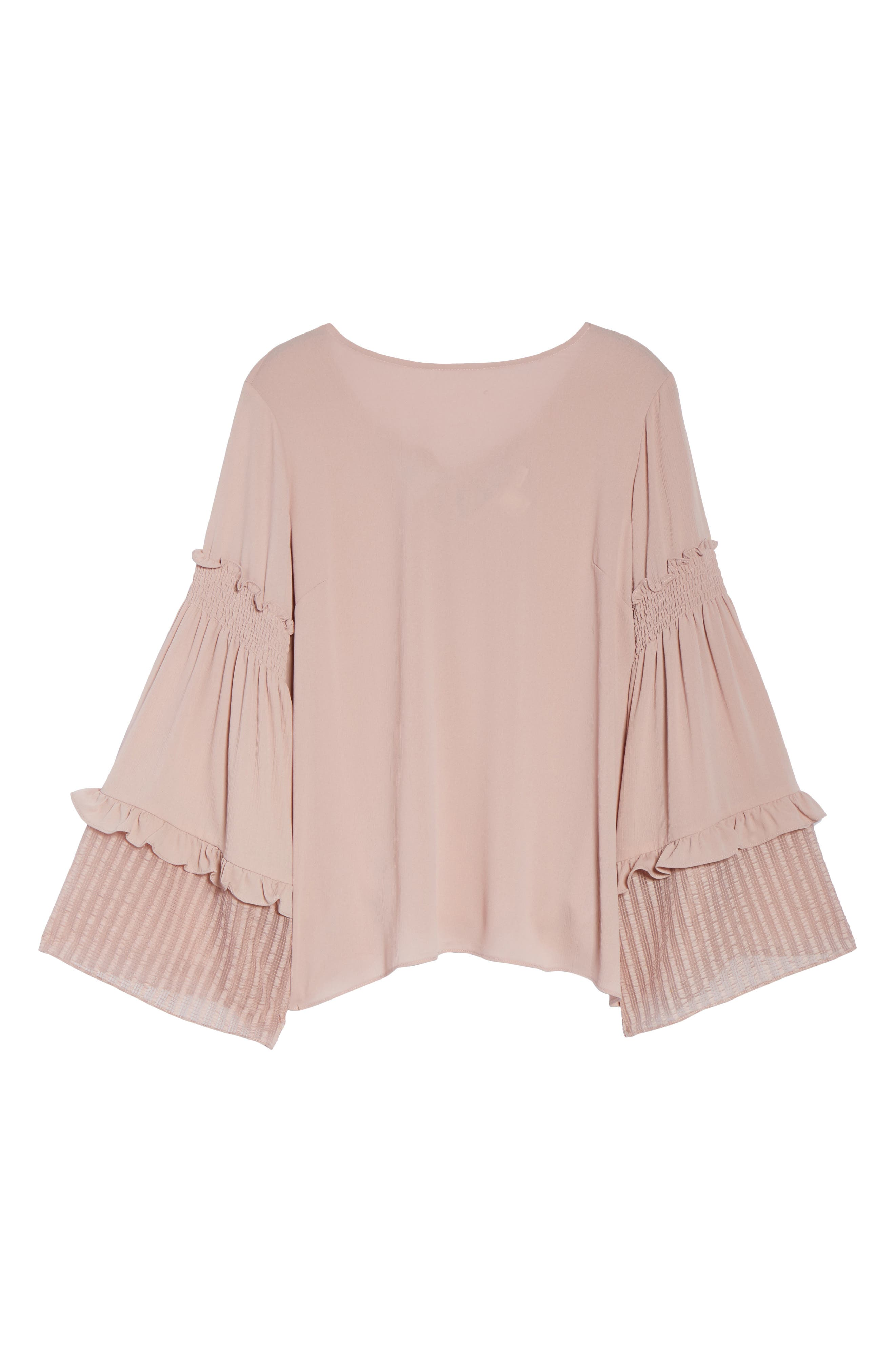 Shirred Sleeve Top,                             Alternate thumbnail 6, color,                             Blush