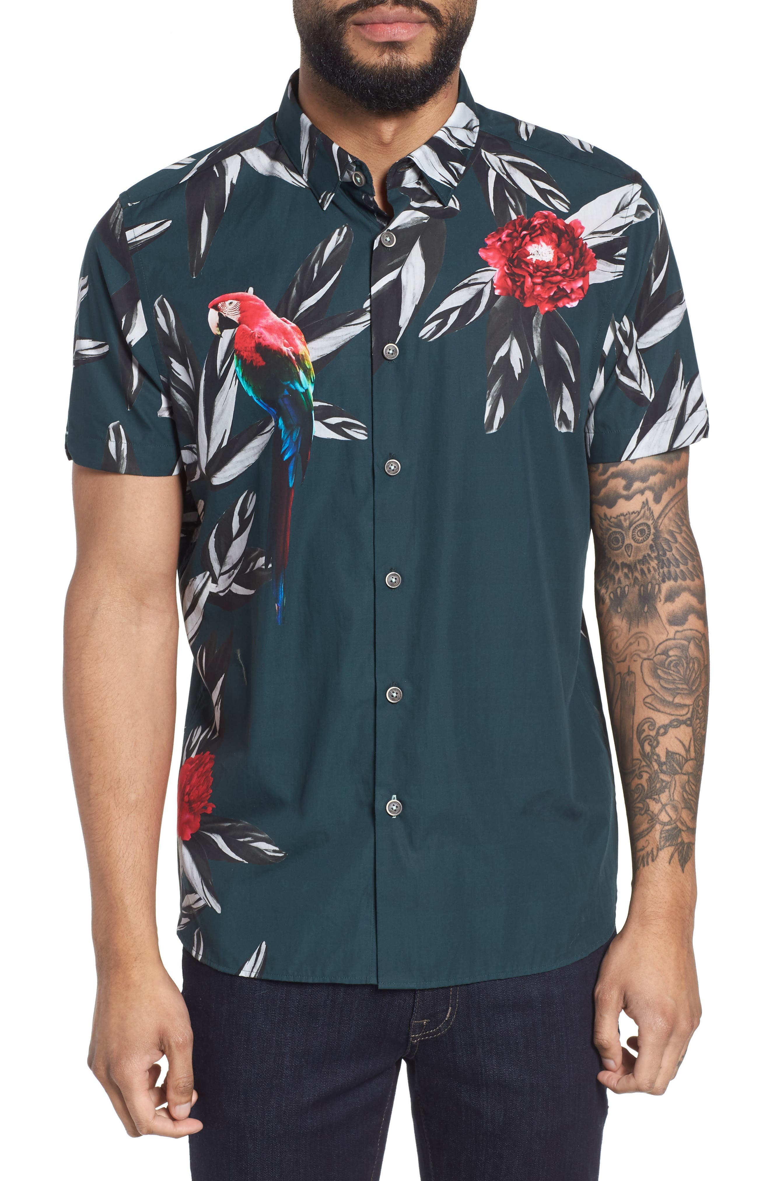 Trim Fit Parrot Print Sport Shirt,                         Main,                         color, Dark Green
