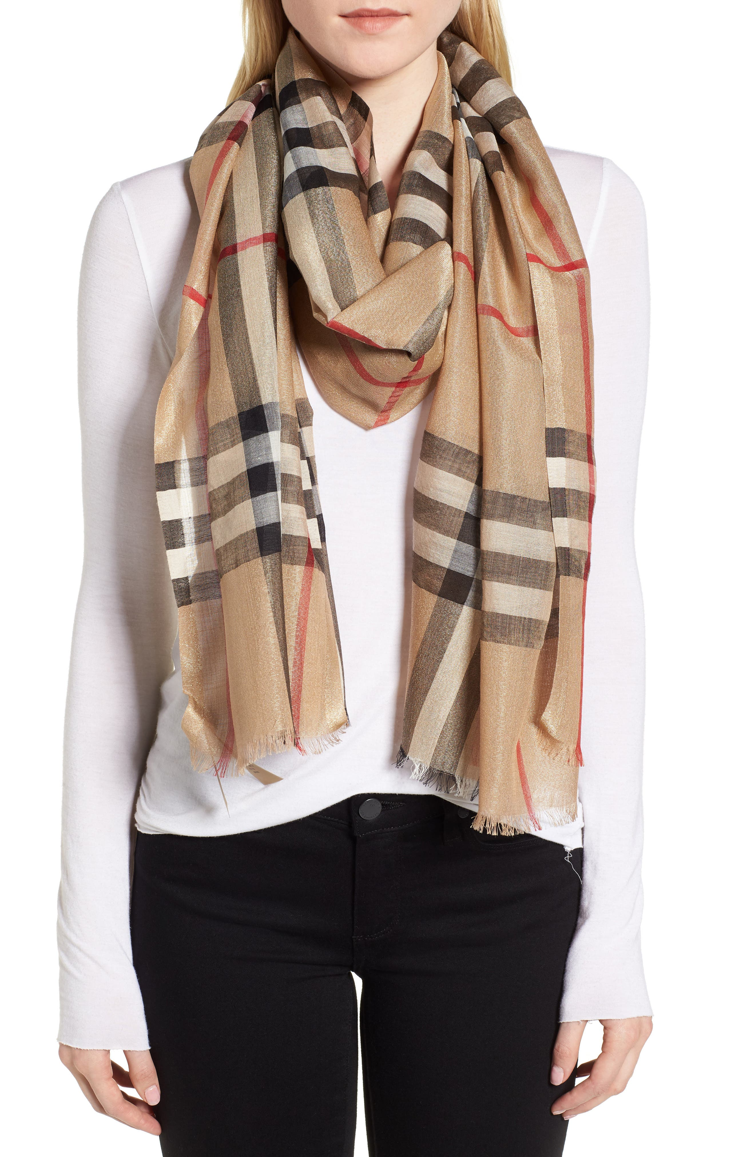 Giant Check Scarf,                             Alternate thumbnail 2, color,                             Camel/ Gold