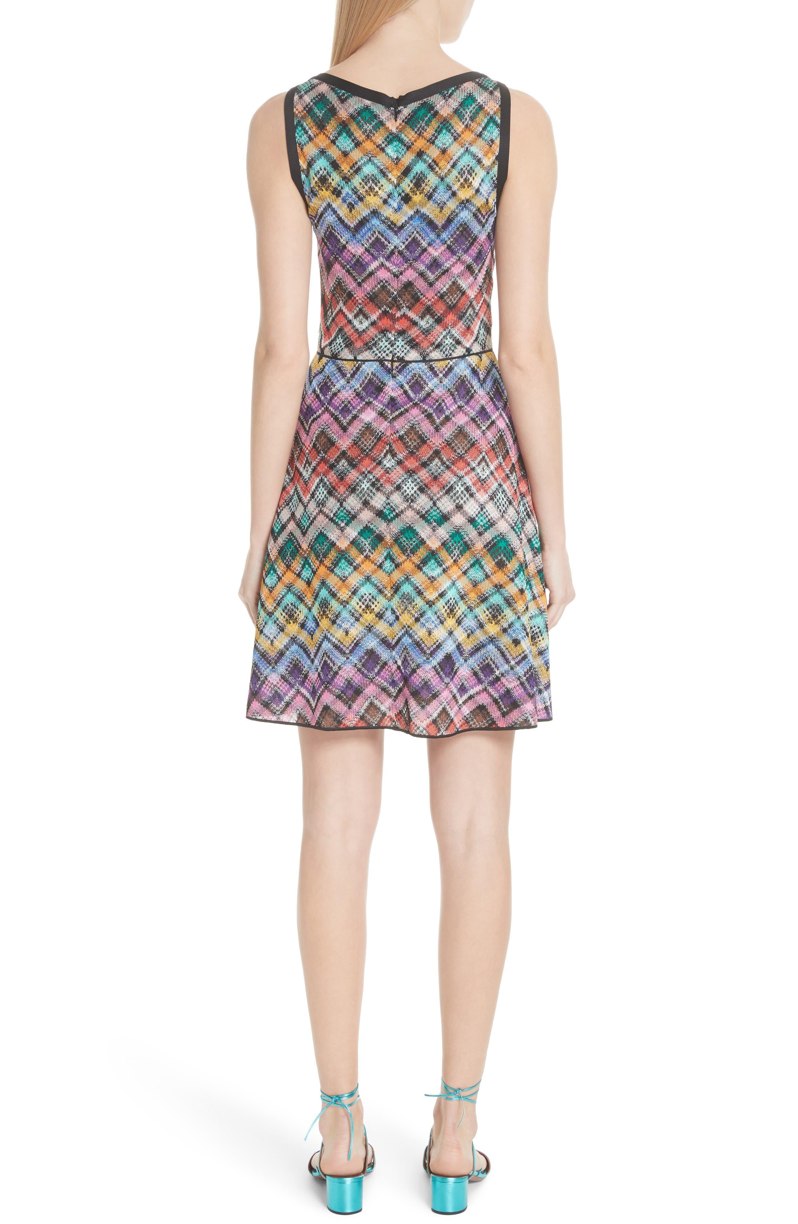 Plaid Knit Fit & Flare Dress,                             Alternate thumbnail 2, color,                             Multi