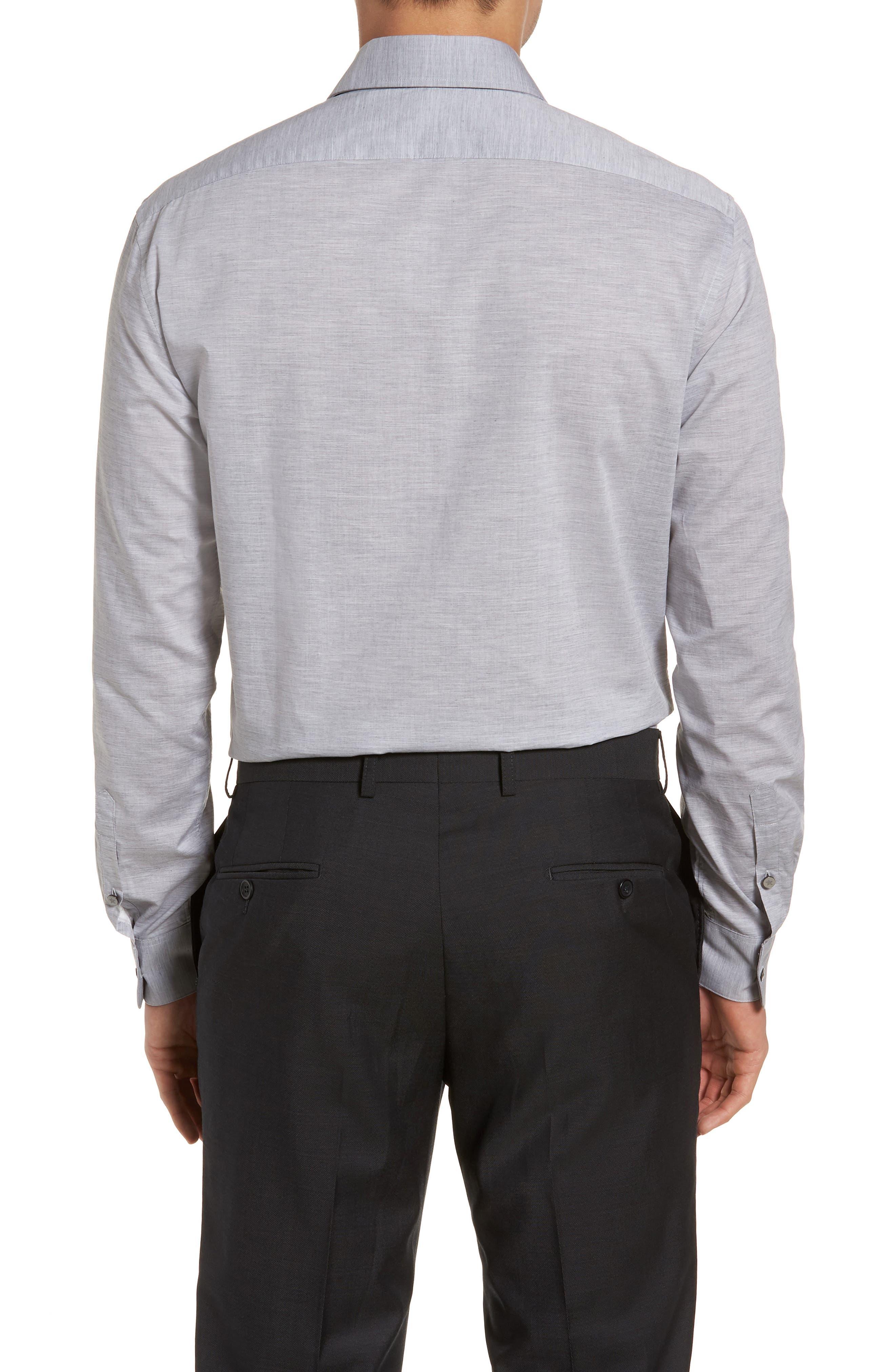 Regular Fit Solid Dress Shirt,                             Alternate thumbnail 3, color,                             Grey