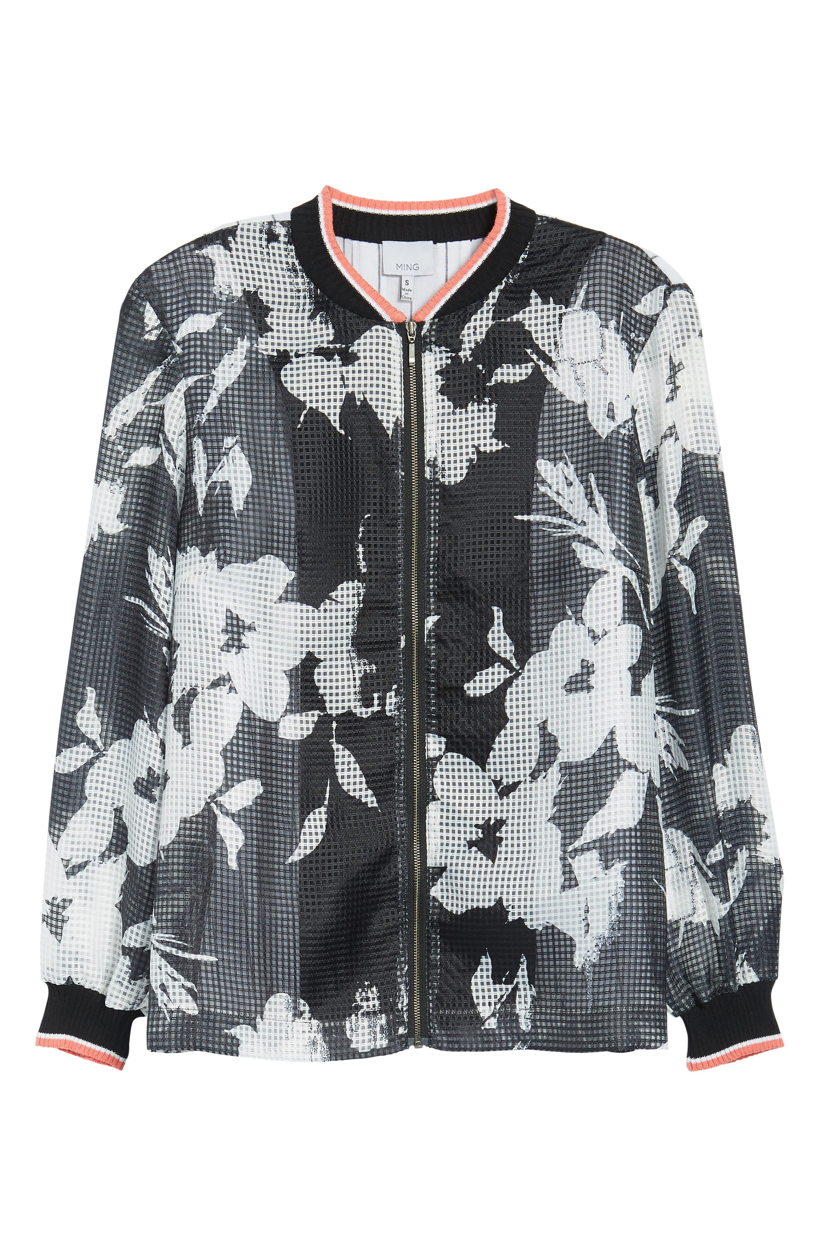 Floral Mesh Bomber Jacket,                             Alternate thumbnail 6, color,                             Black/ Daylily/ White