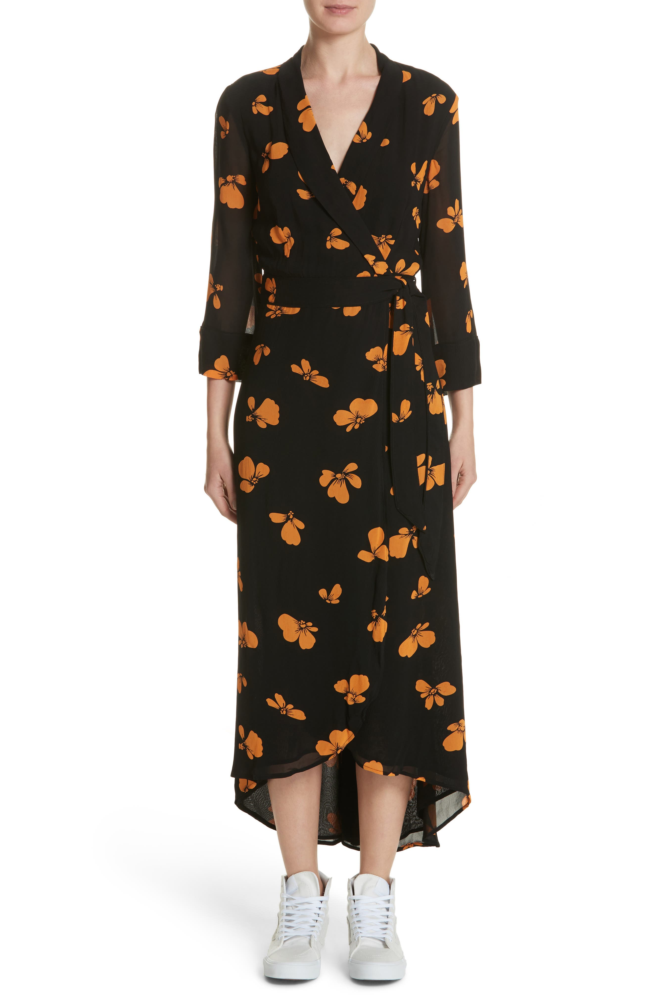 Fairfax Georgette Wrap Dress,                             Main thumbnail 1, color,                             Black