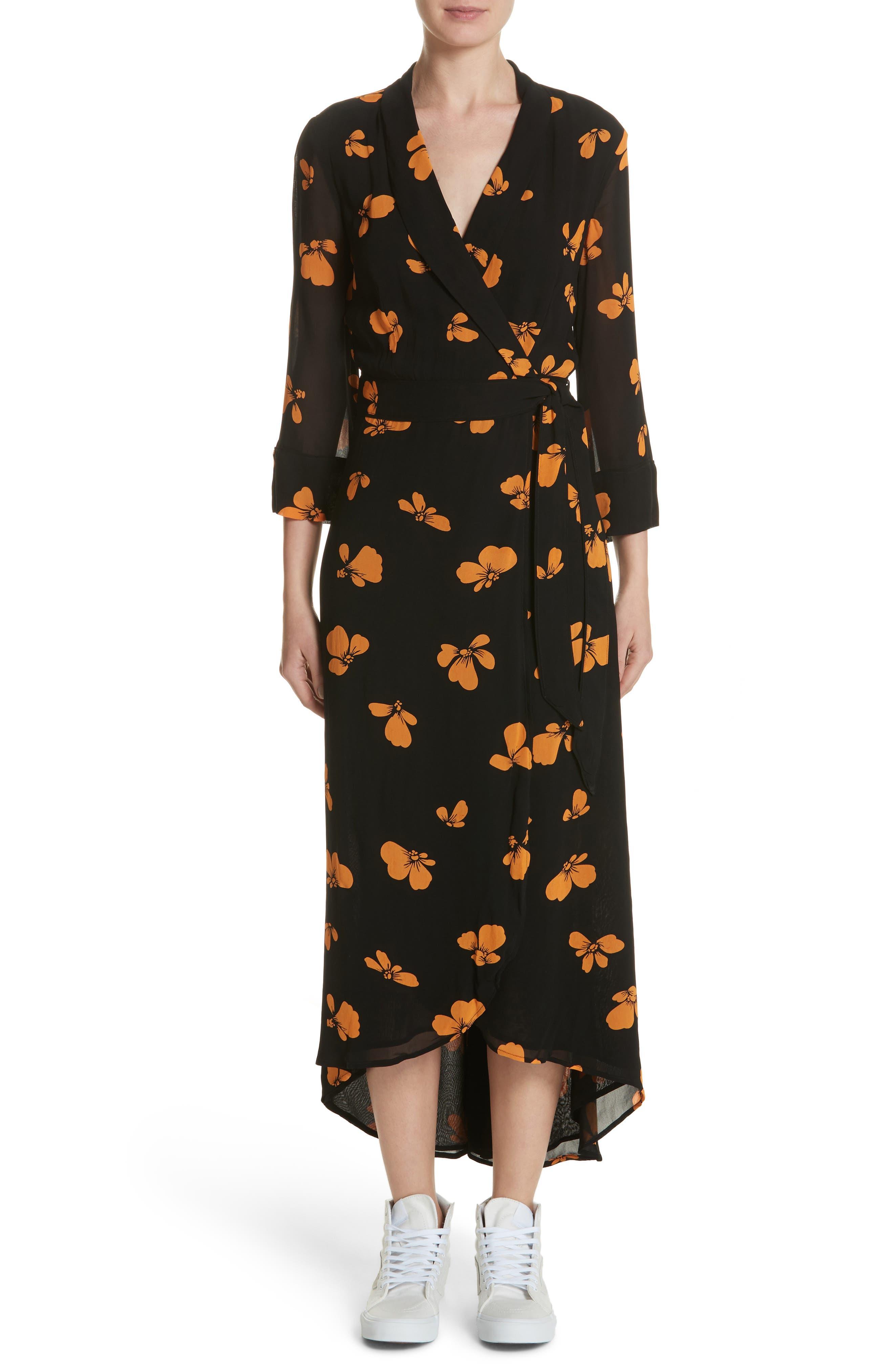 Fairfax Georgette Wrap Dress,                         Main,                         color, Black