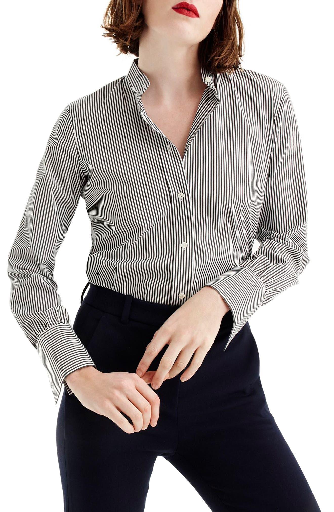 Perfect Stripe Stretch Bodysuit,                             Main thumbnail 1, color,                             Black