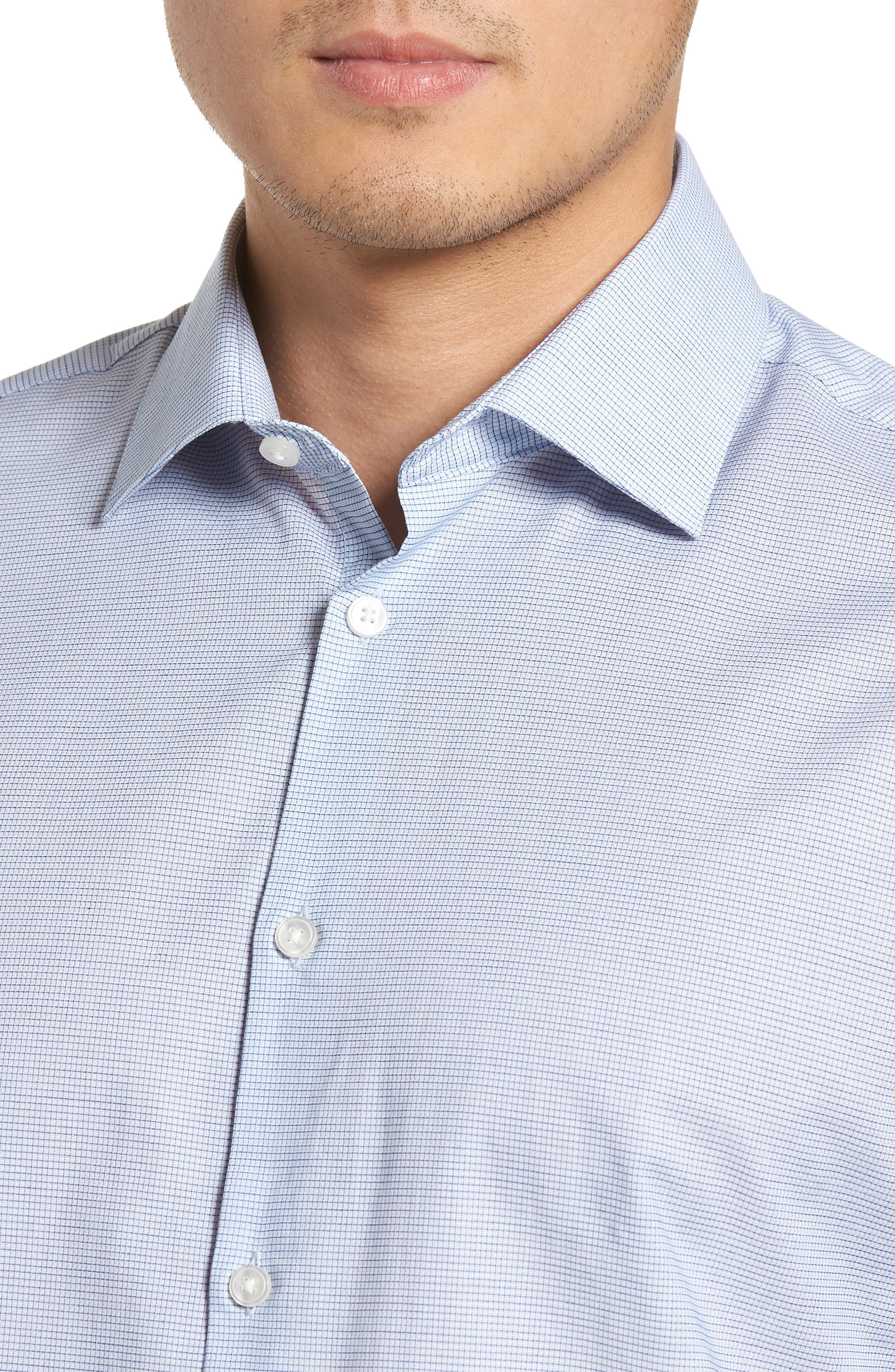 Slim Fit Stretch Microcheck Dress Shirt,                             Alternate thumbnail 2, color,                             Icicle Blue