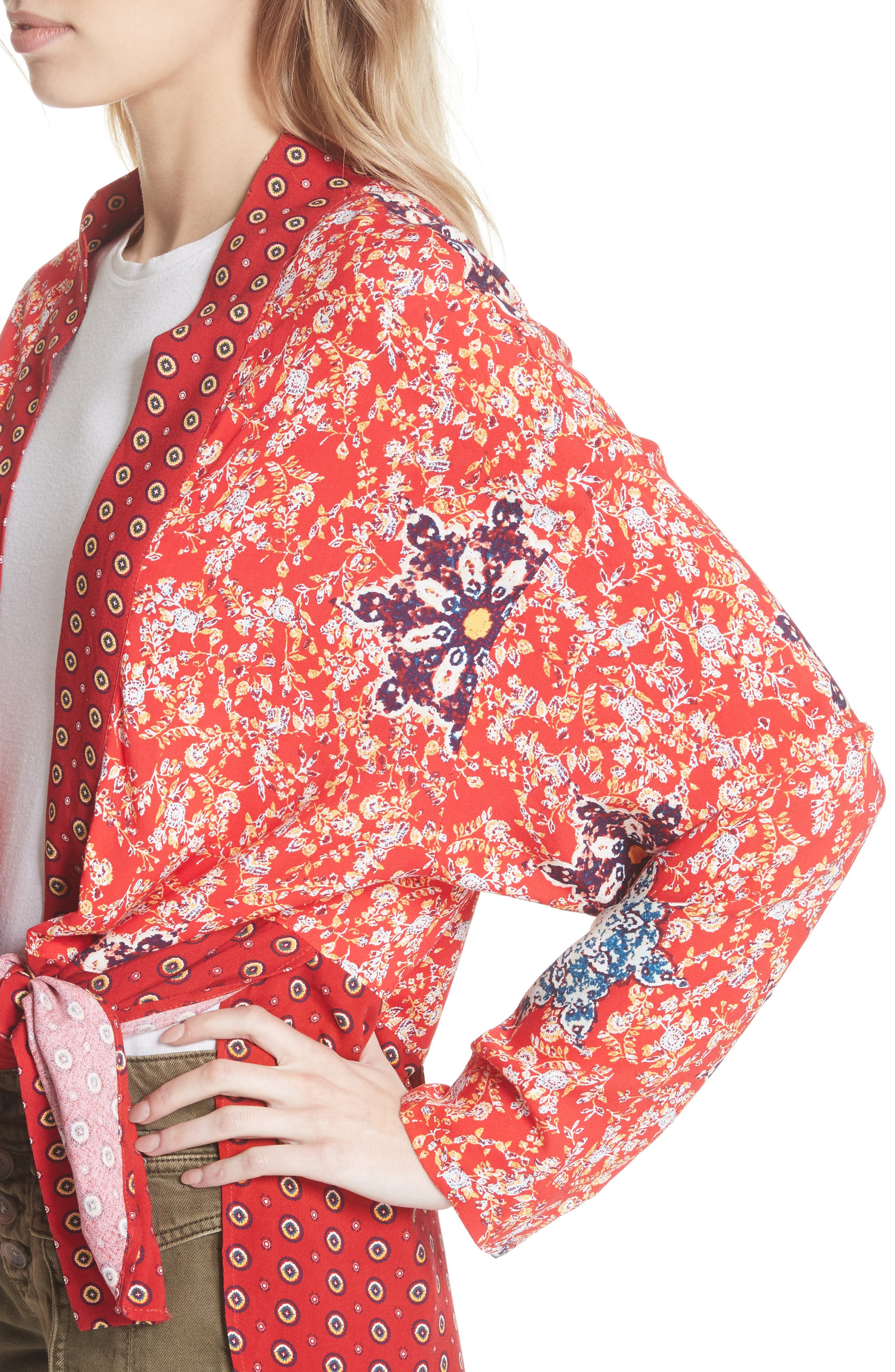 Forget Me Knot Tie Front Kimono,                             Alternate thumbnail 4, color,                             Light Red