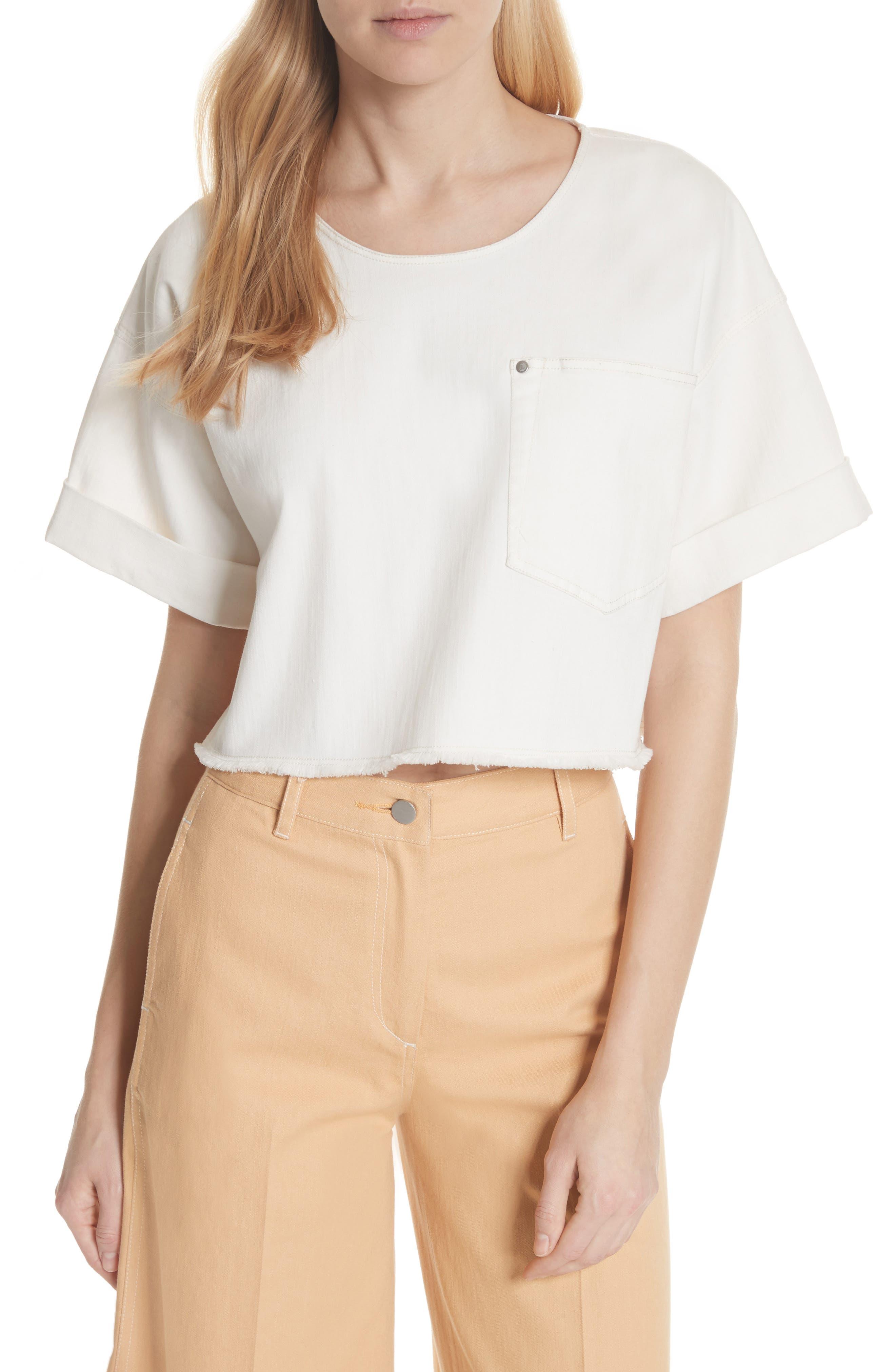 Tinsley Denim Crop Top,                         Main,                         color, White