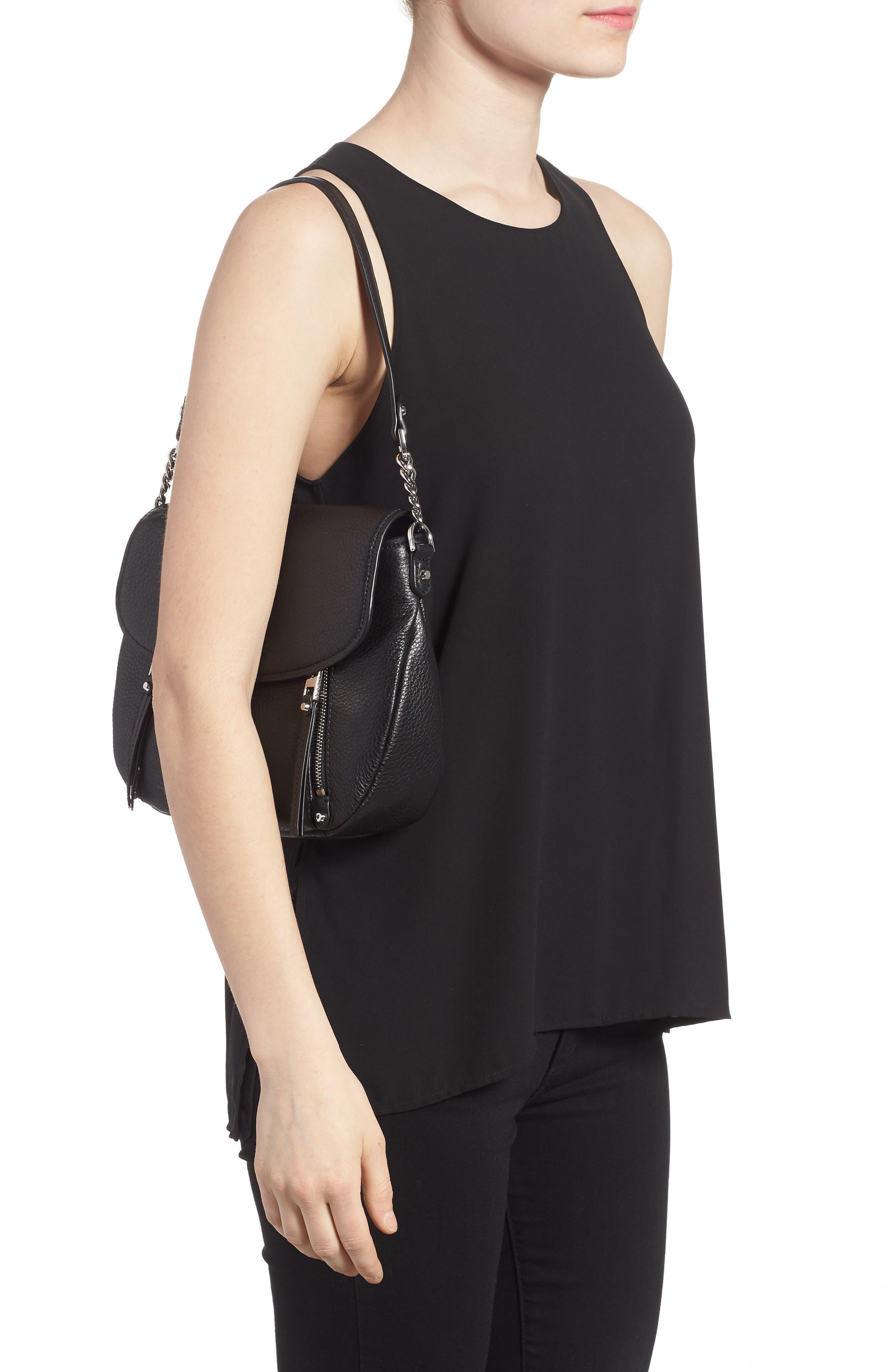 Medium Leather Shoulder Bag,                             Alternate thumbnail 2, color,                             Black