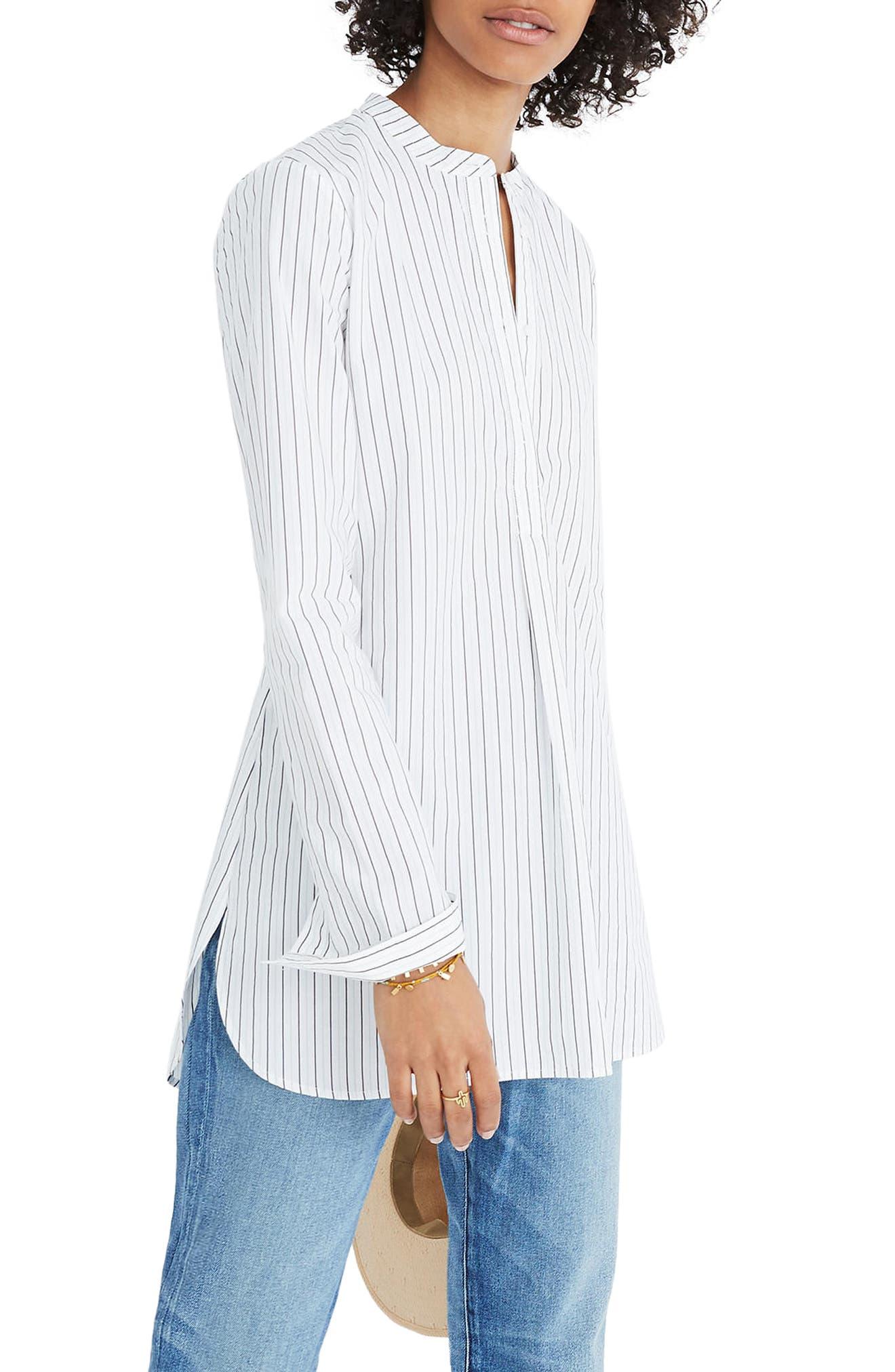 Wellspring Stripe Tunic Popover Shirt,                         Main,                         color, White Wash