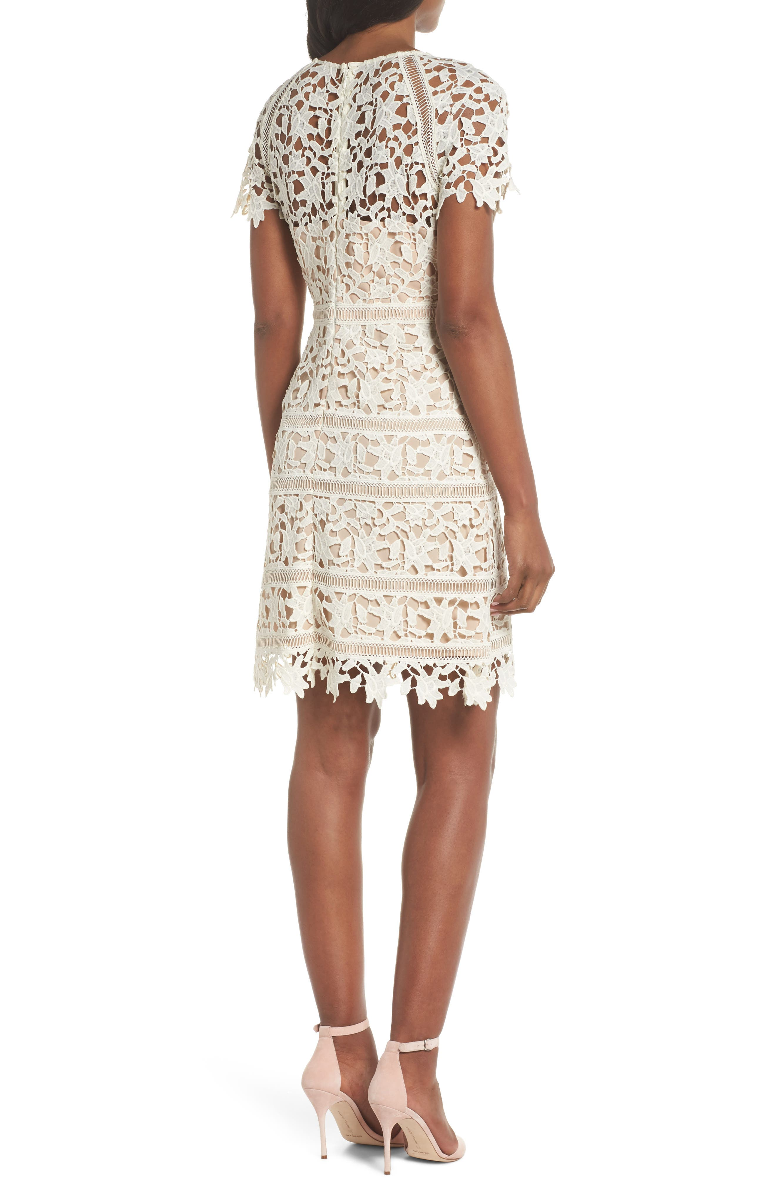 Crochet Overlay Dress,                             Alternate thumbnail 2, color,                             Ivory