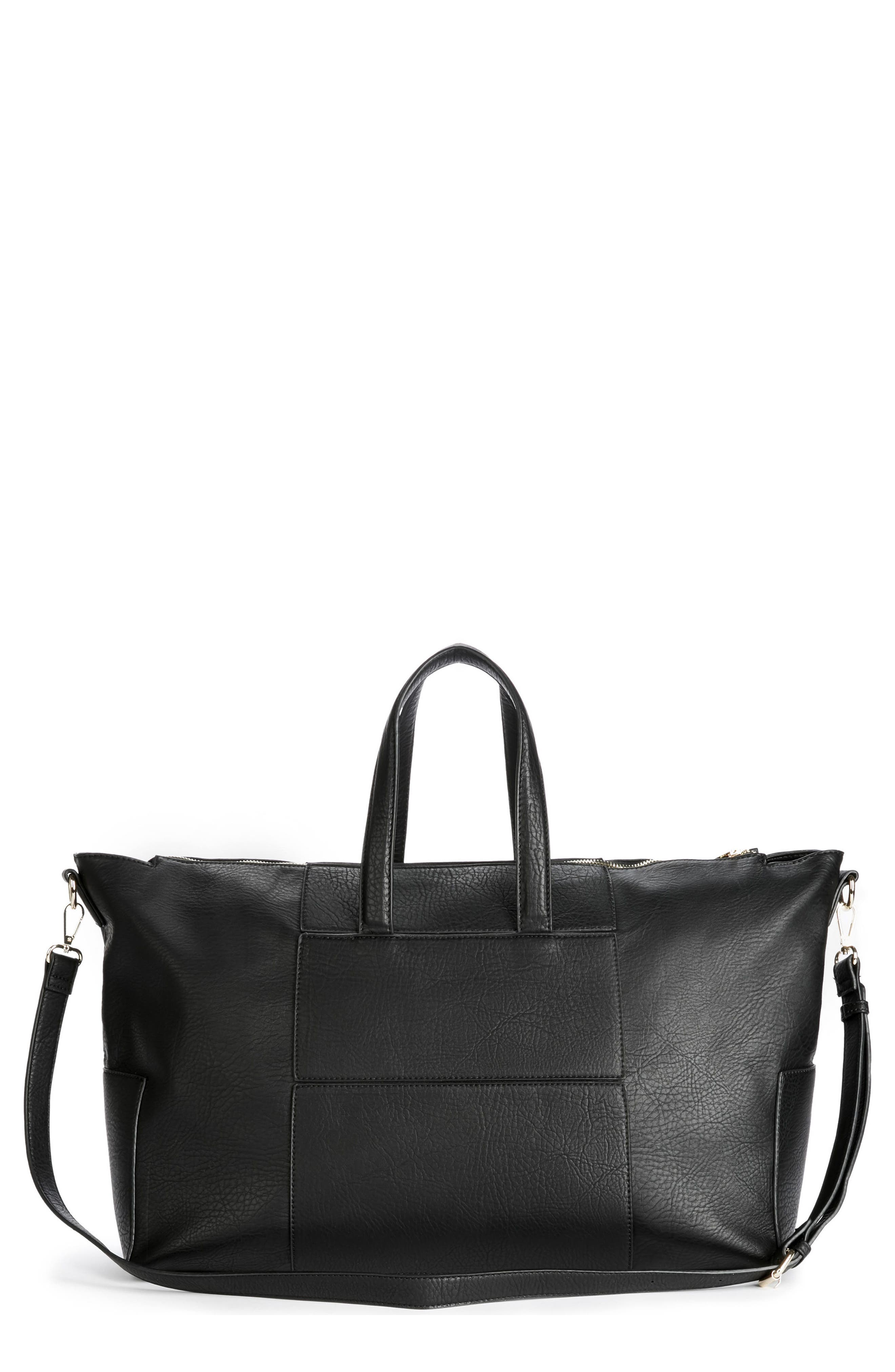 Cory Faux Leather Travel Tote,                             Main thumbnail 1, color,                             Black