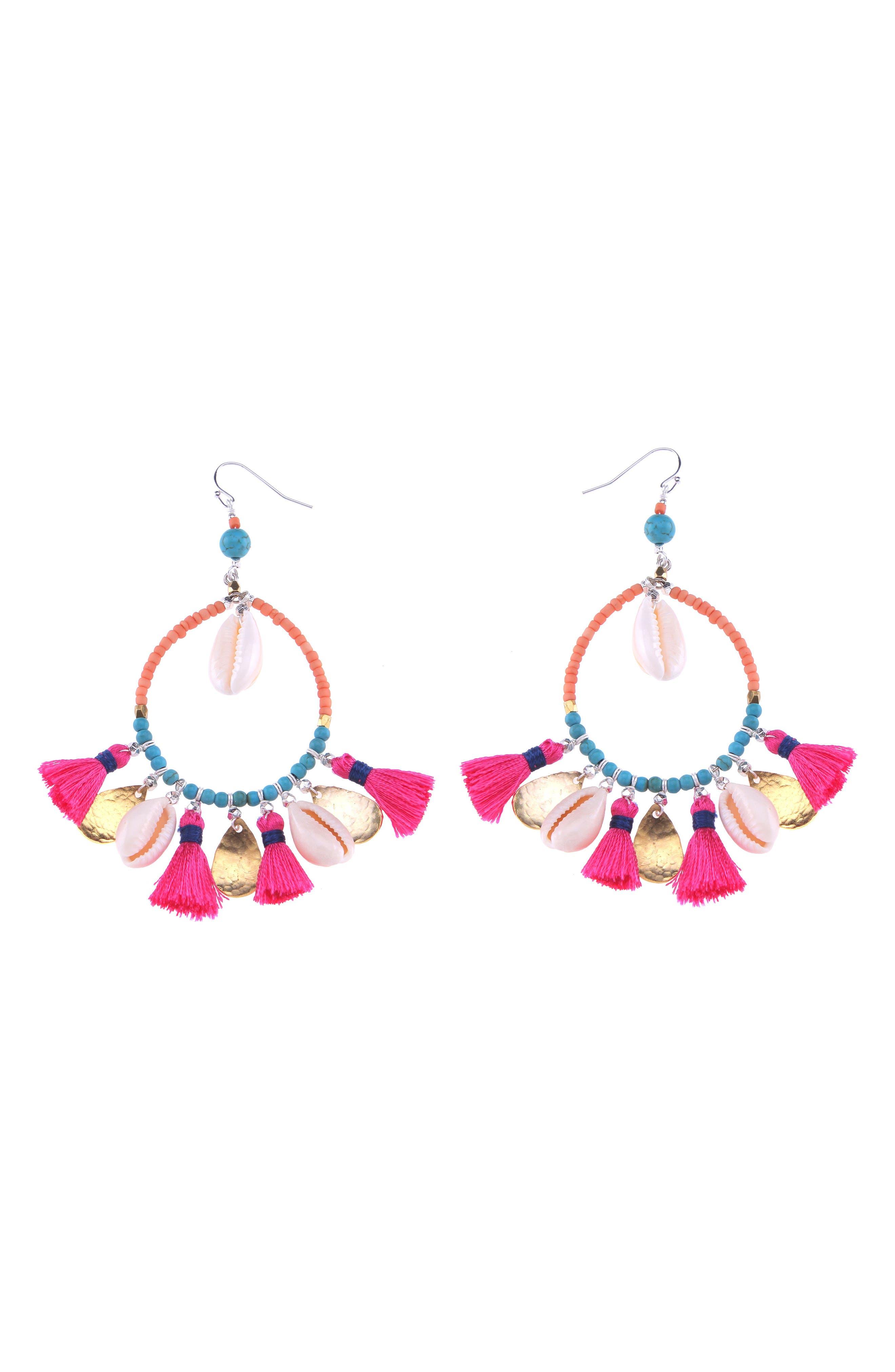 Shell & Tassel Hoop Earrings,                         Main,                         color, Pink Multi