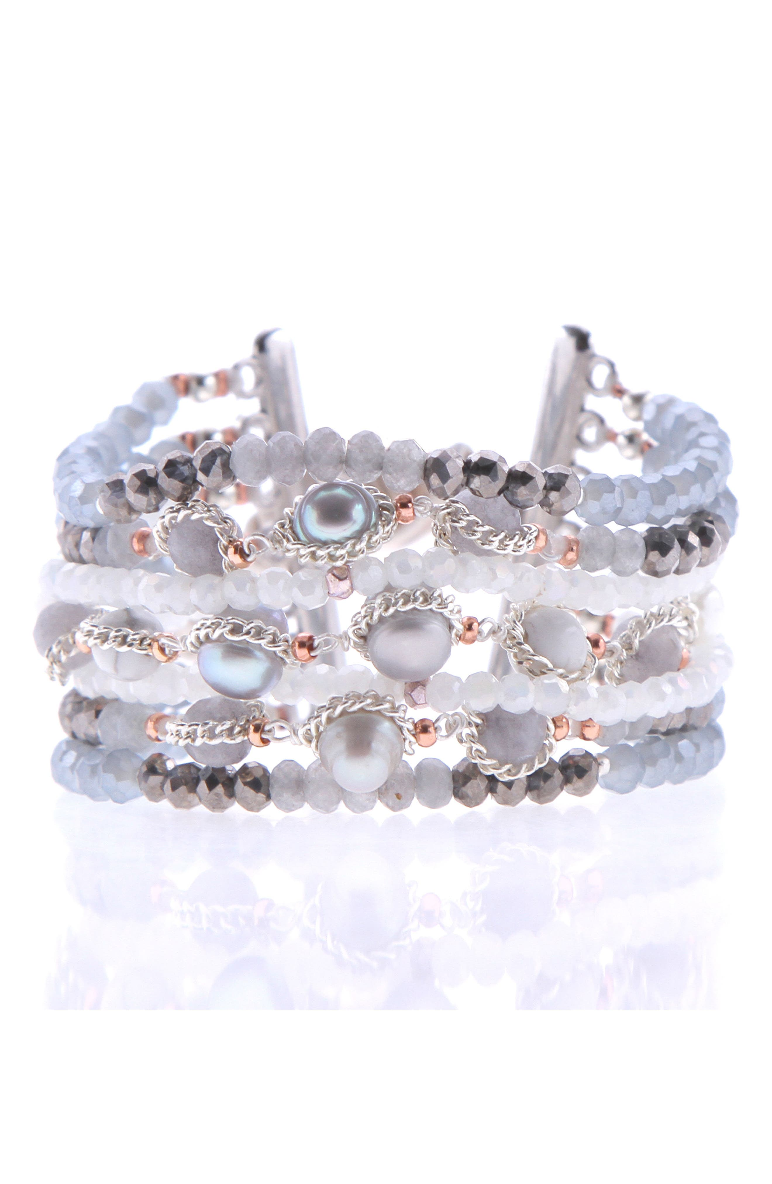 Crystal & Imitation Pearl Bracelet,                             Main thumbnail 1, color,                             Silver