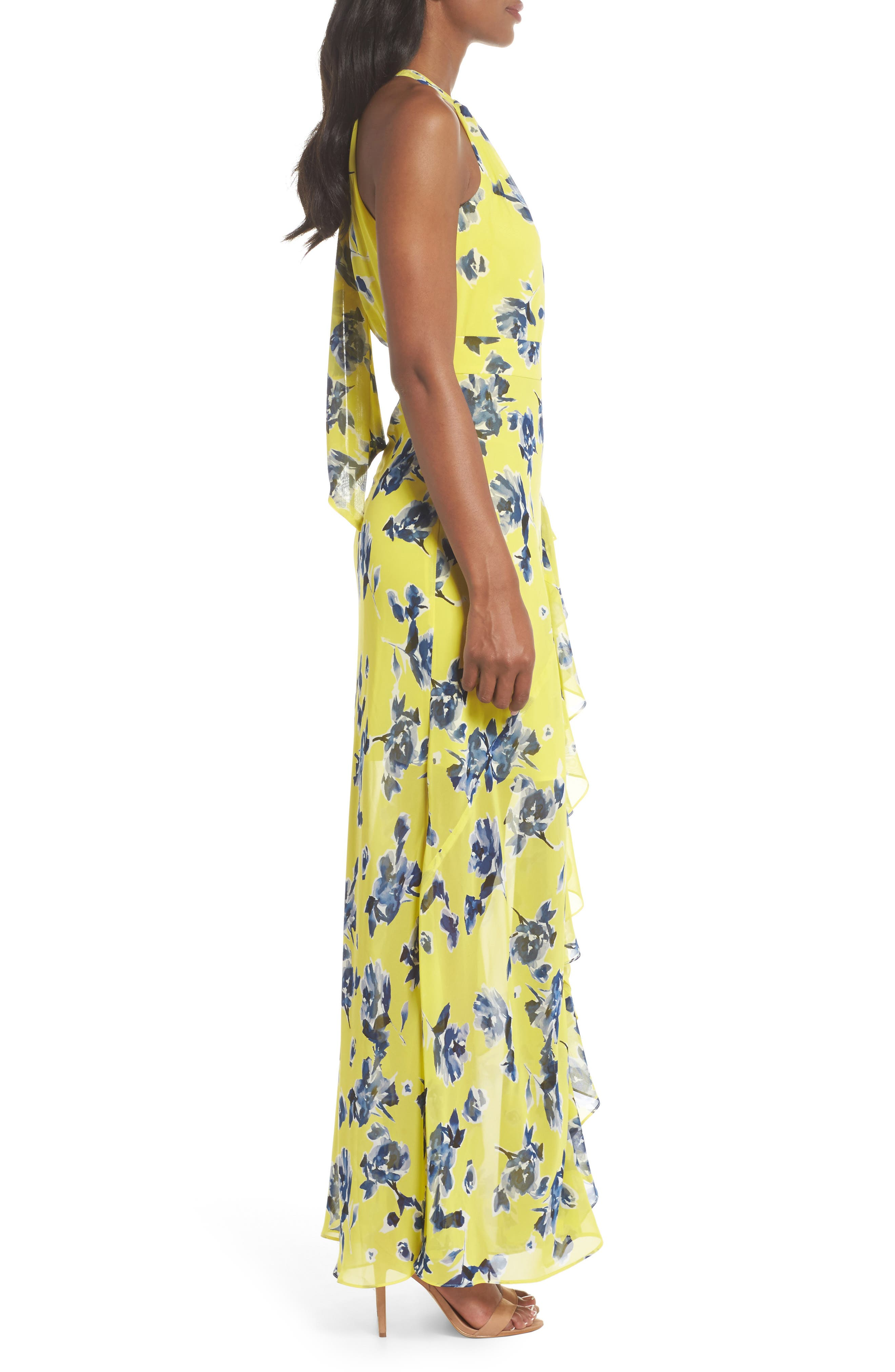 Halter Ruffle Maxi Dress,                             Alternate thumbnail 3, color,                             Yellow
