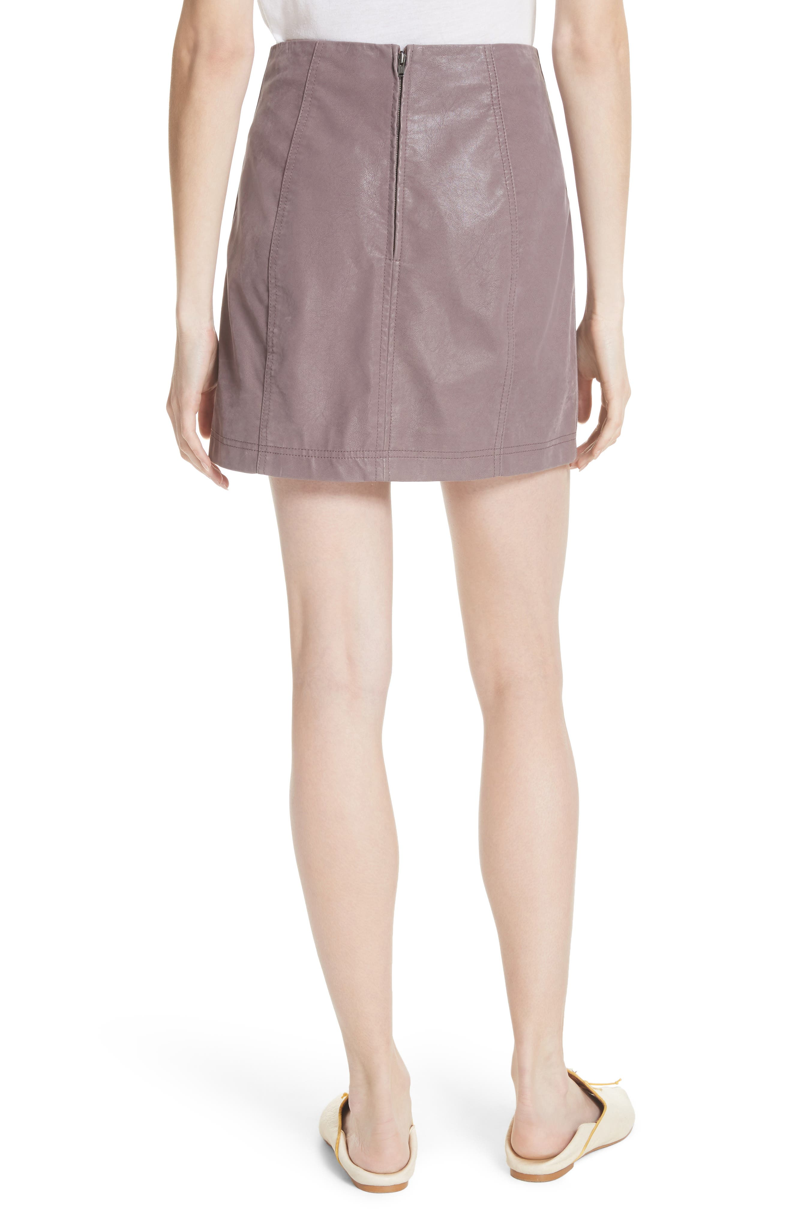 Faux Leather Miniskirt,                             Alternate thumbnail 2, color,                             Mauve