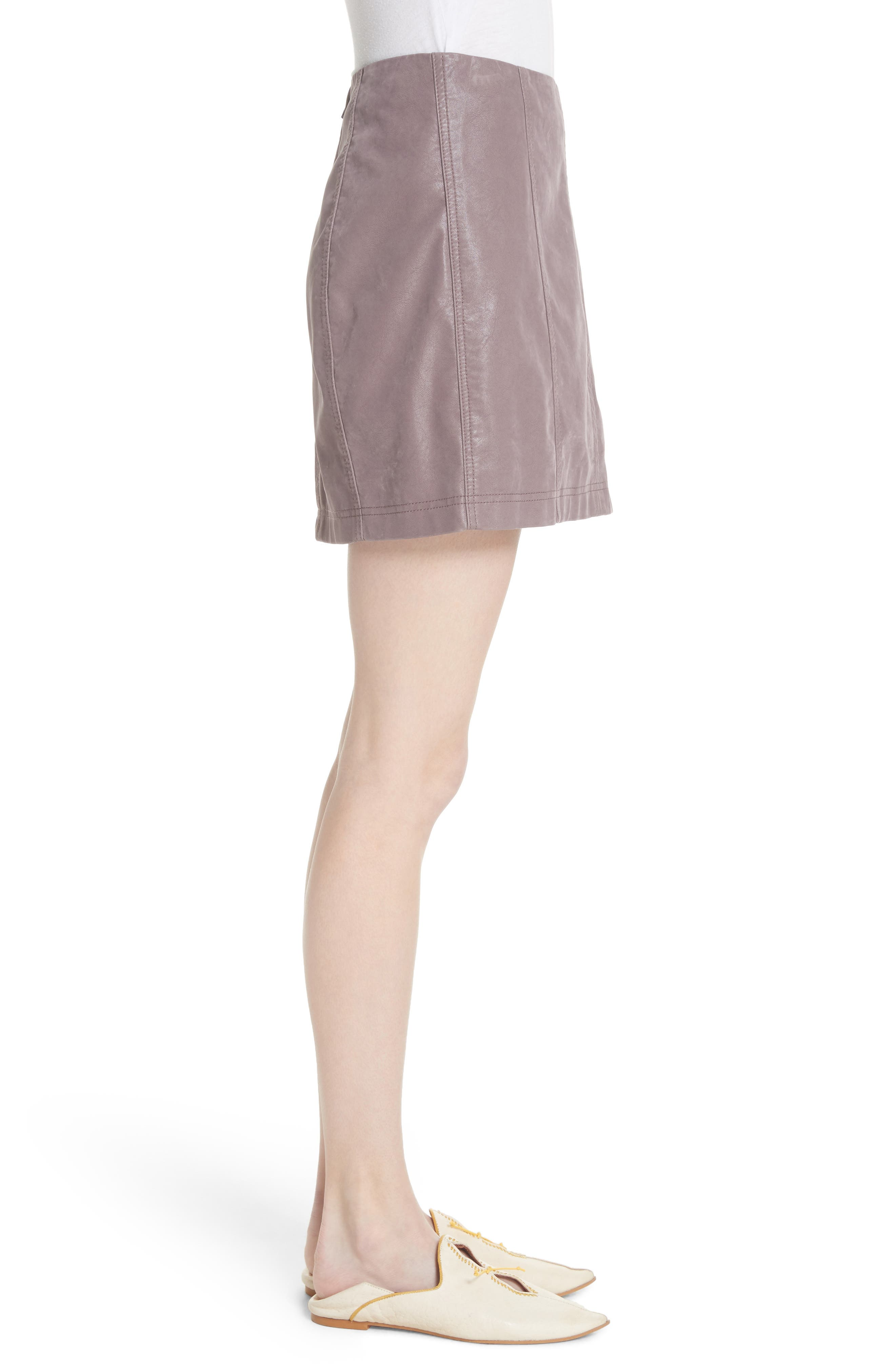 Faux Leather Miniskirt,                             Alternate thumbnail 3, color,                             Mauve