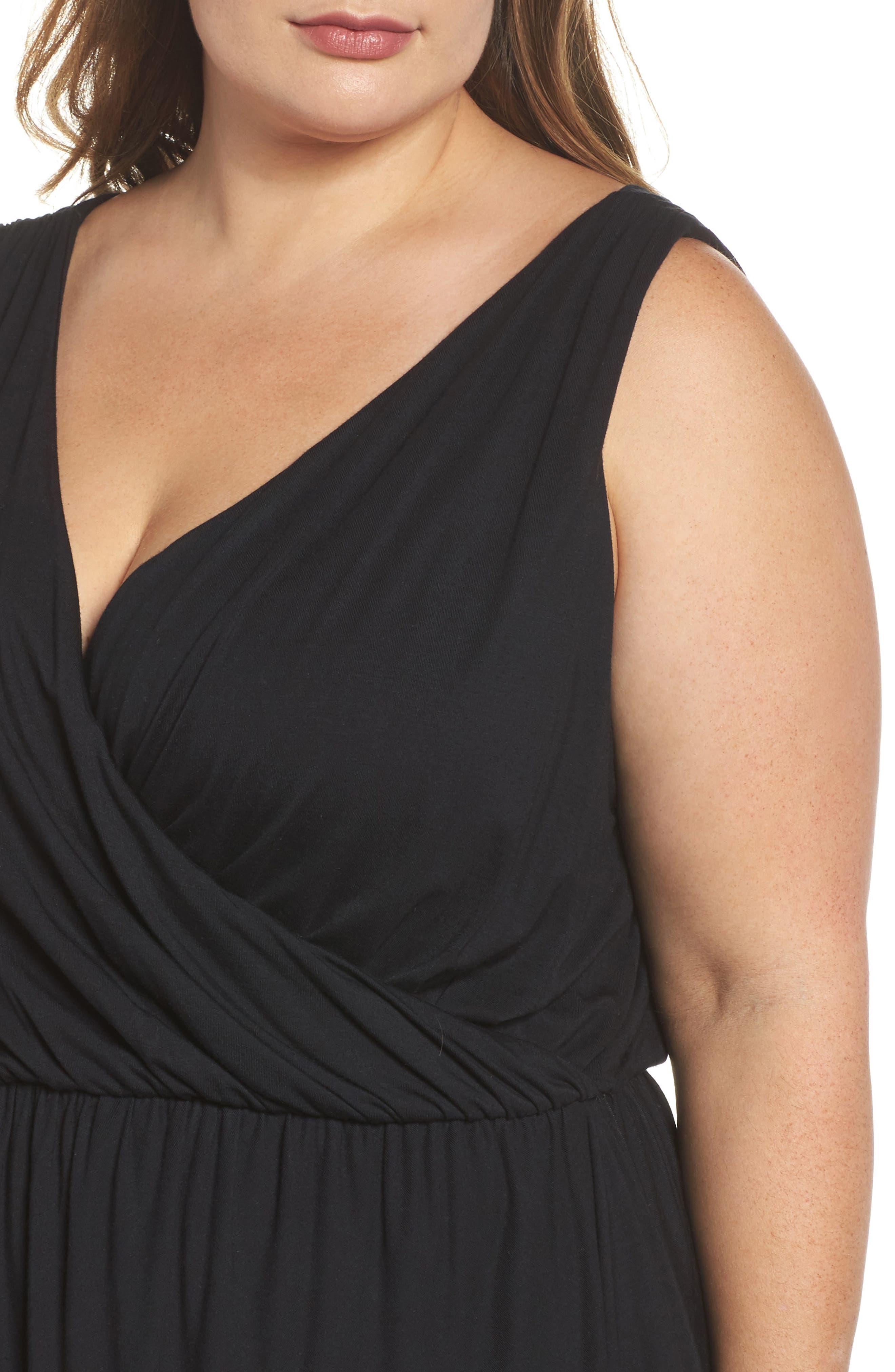 Drape Surplice Jersey Midi Dress,                             Alternate thumbnail 4, color,                             Black