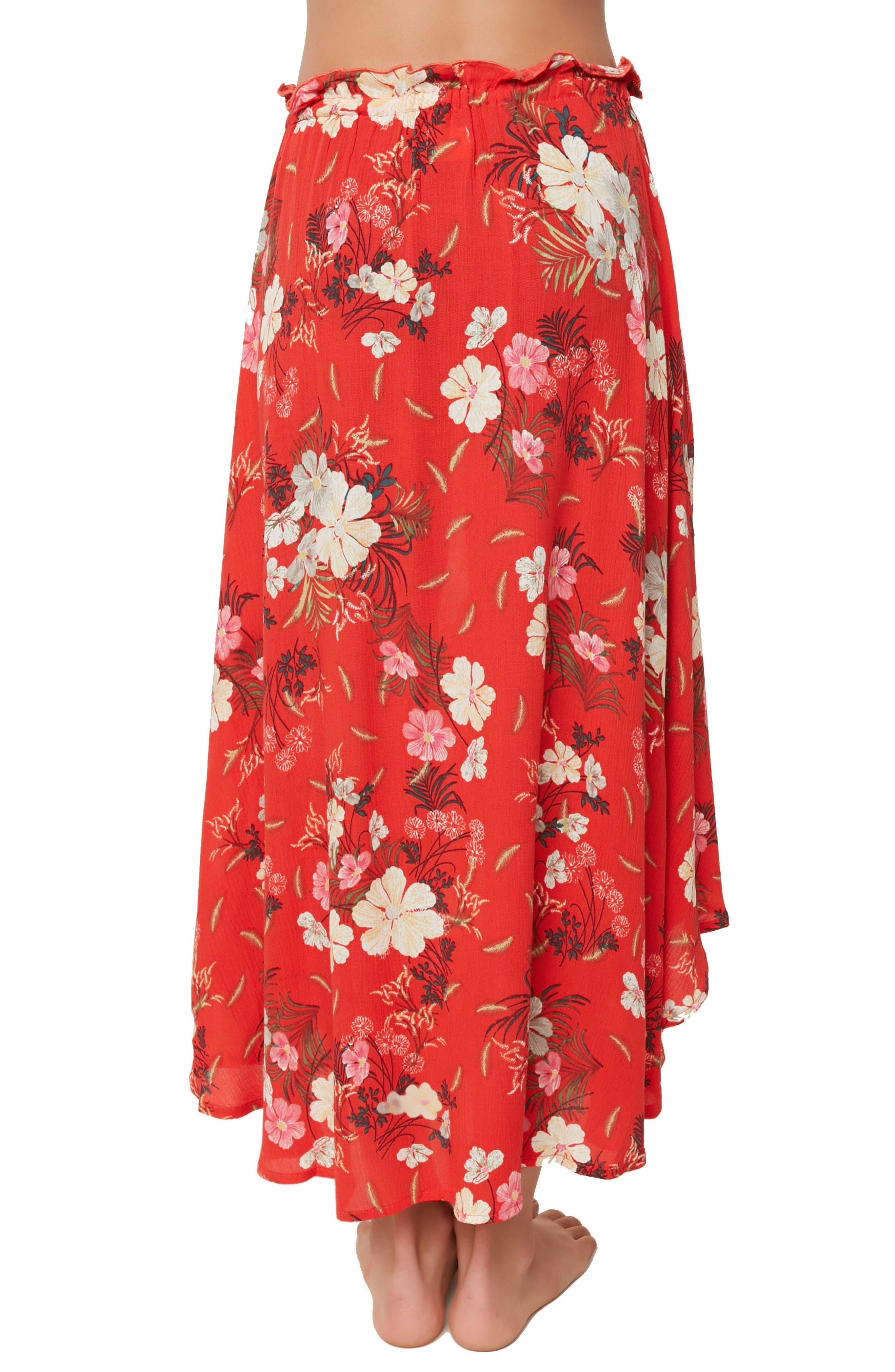 Caroline Floral Skirt,                             Alternate thumbnail 4, color,                             Poppy Red