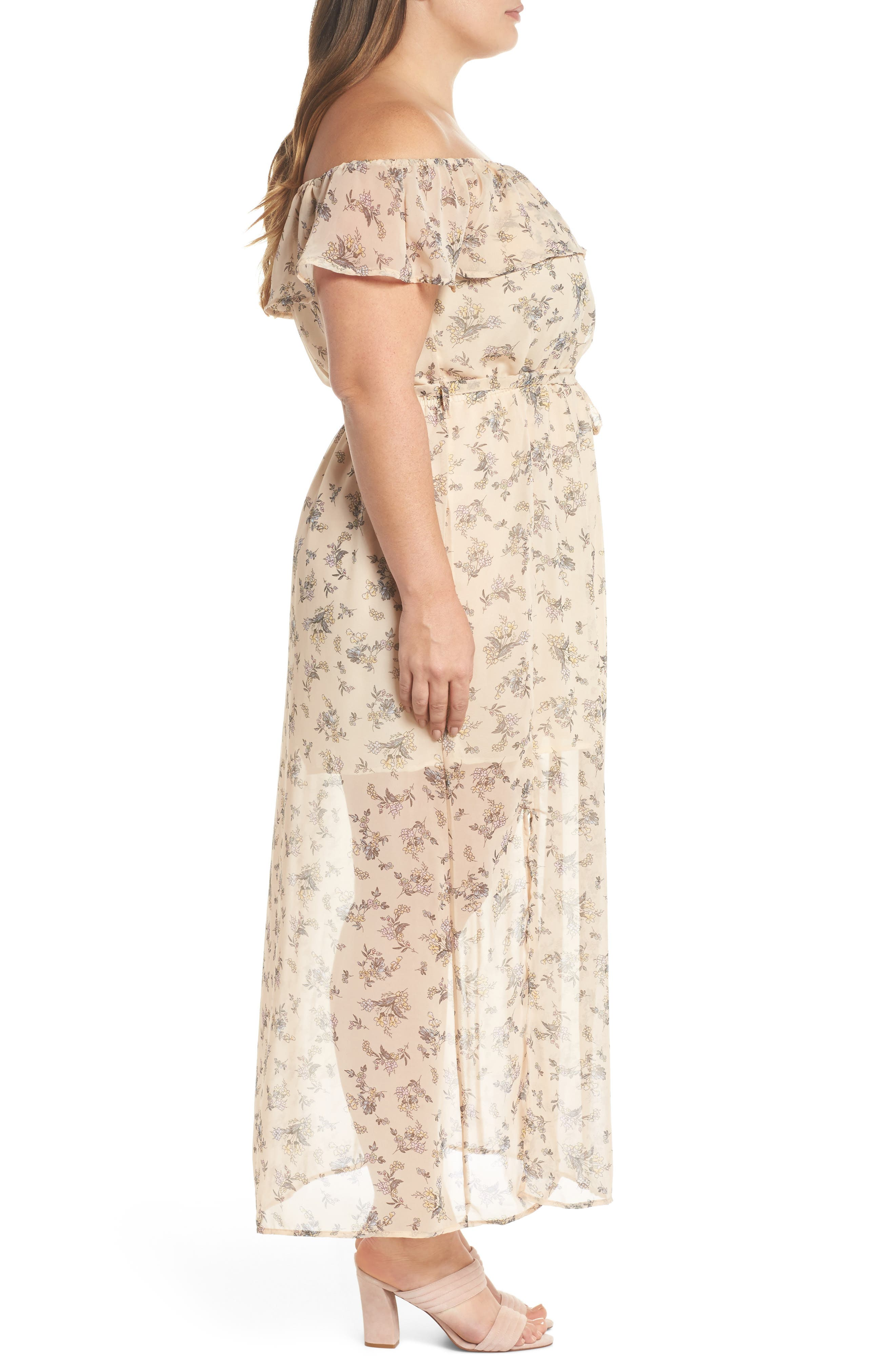 Print Off-the-Shoulder Maxi Dress,                             Alternate thumbnail 3, color,                             Nude Blush Floral