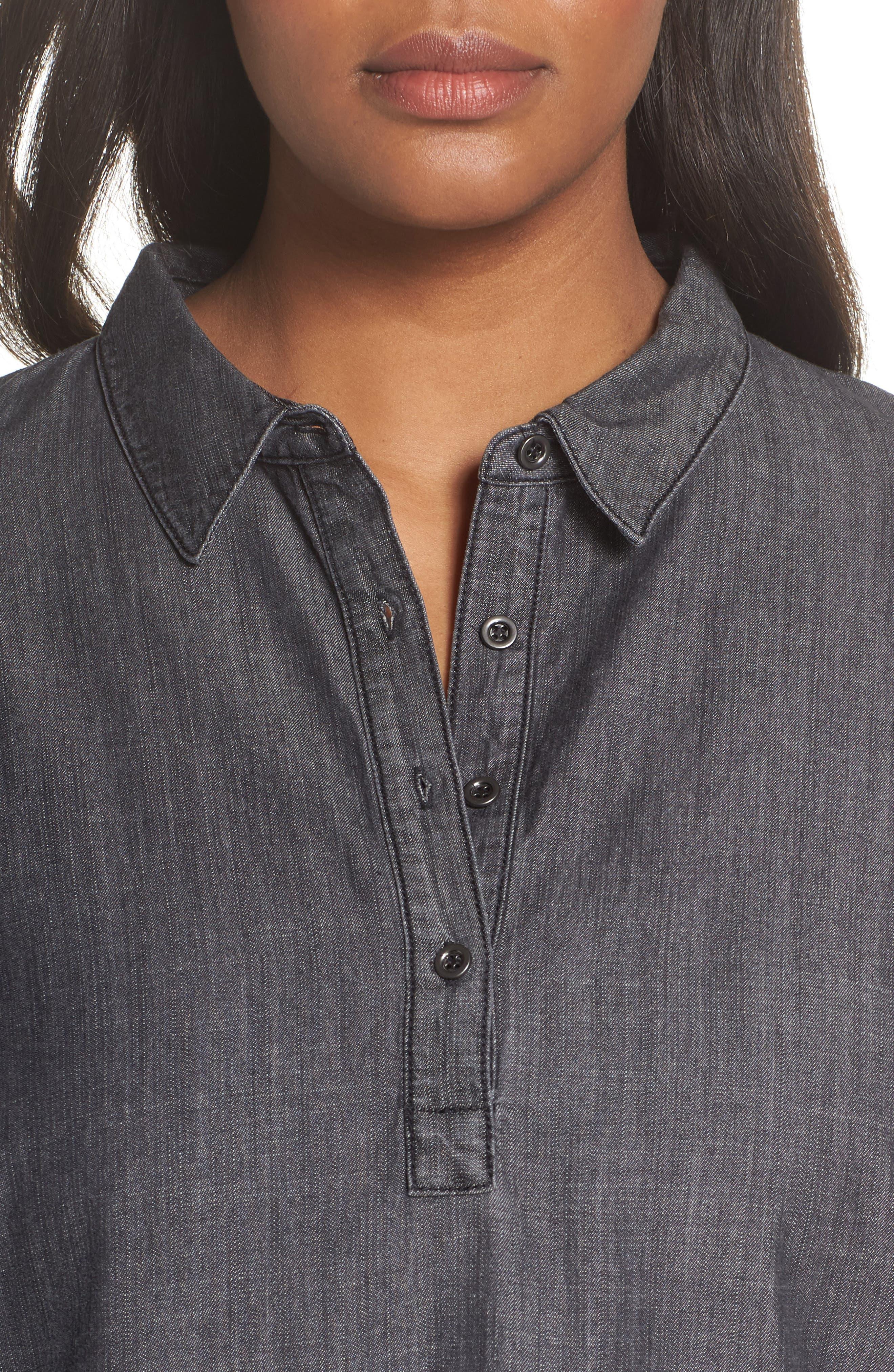 Classic Collar Shirt,                             Alternate thumbnail 4, color,                             Black