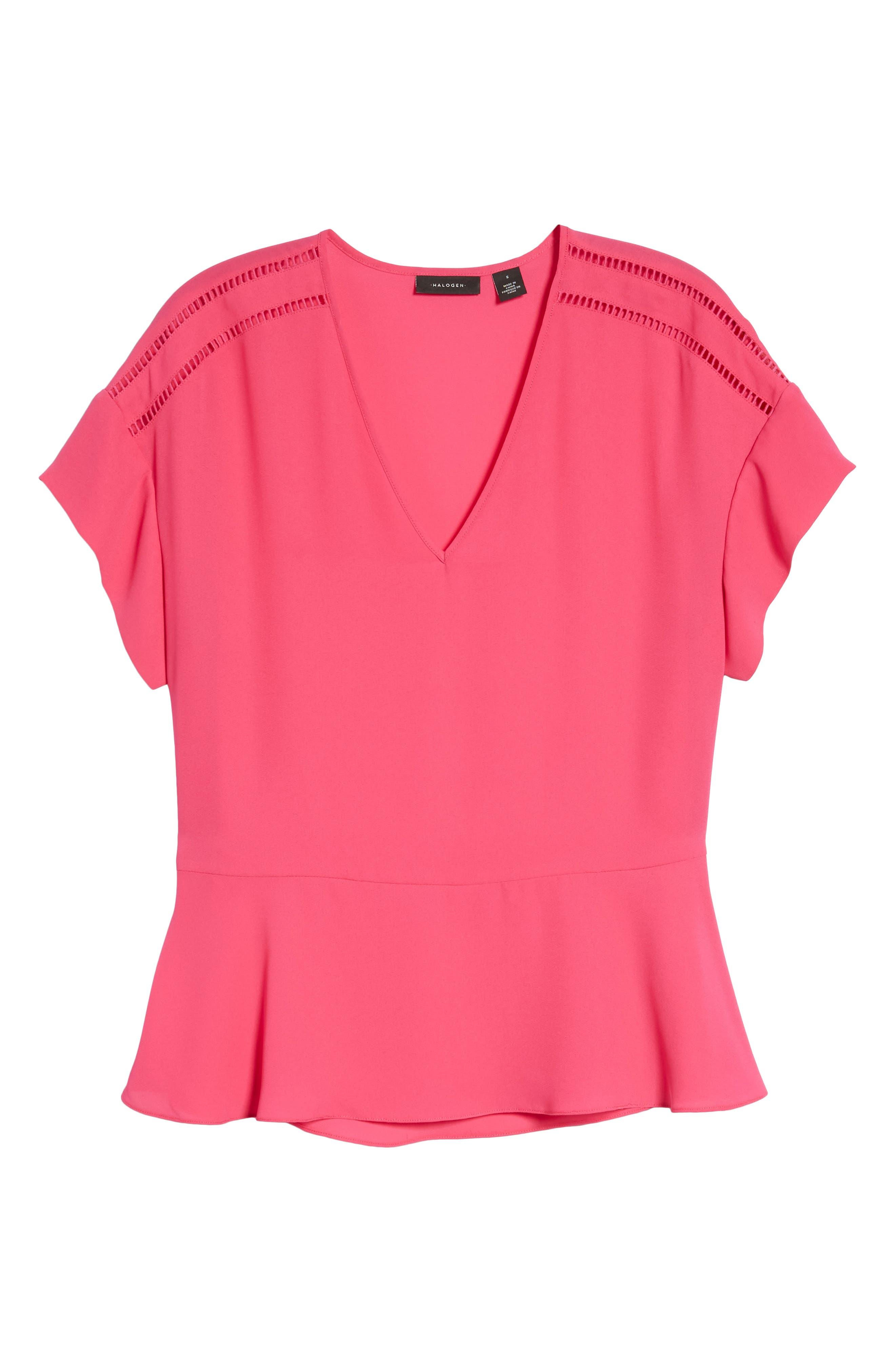 Ruffle Sleeve Peplum Stretch Cotton Blend Top,                             Alternate thumbnail 7, color,                             Pink Cabaret