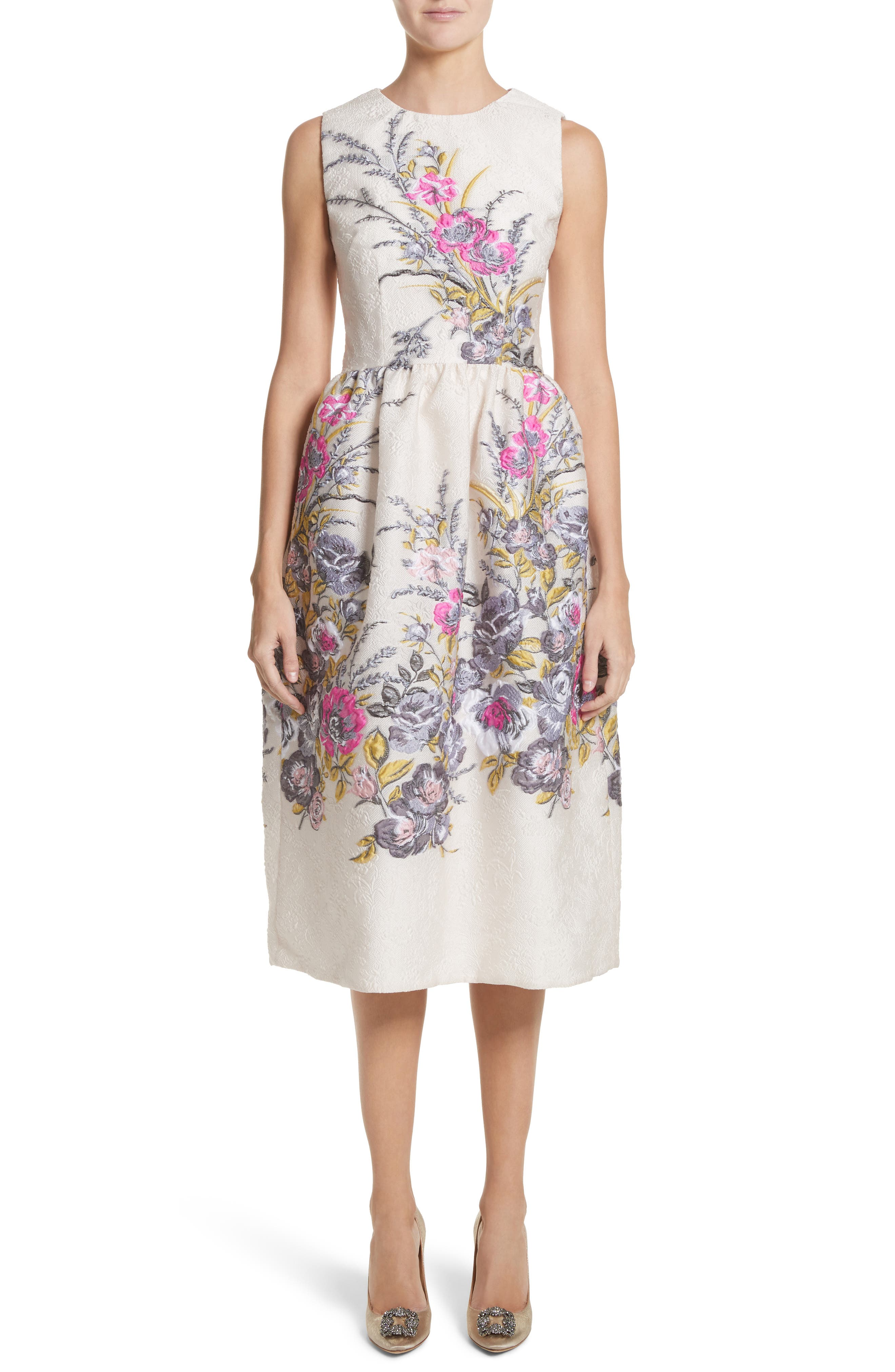 Floral Embroidered Jacquard Dress,                             Main thumbnail 1, color,                             Off White Fuchsia
