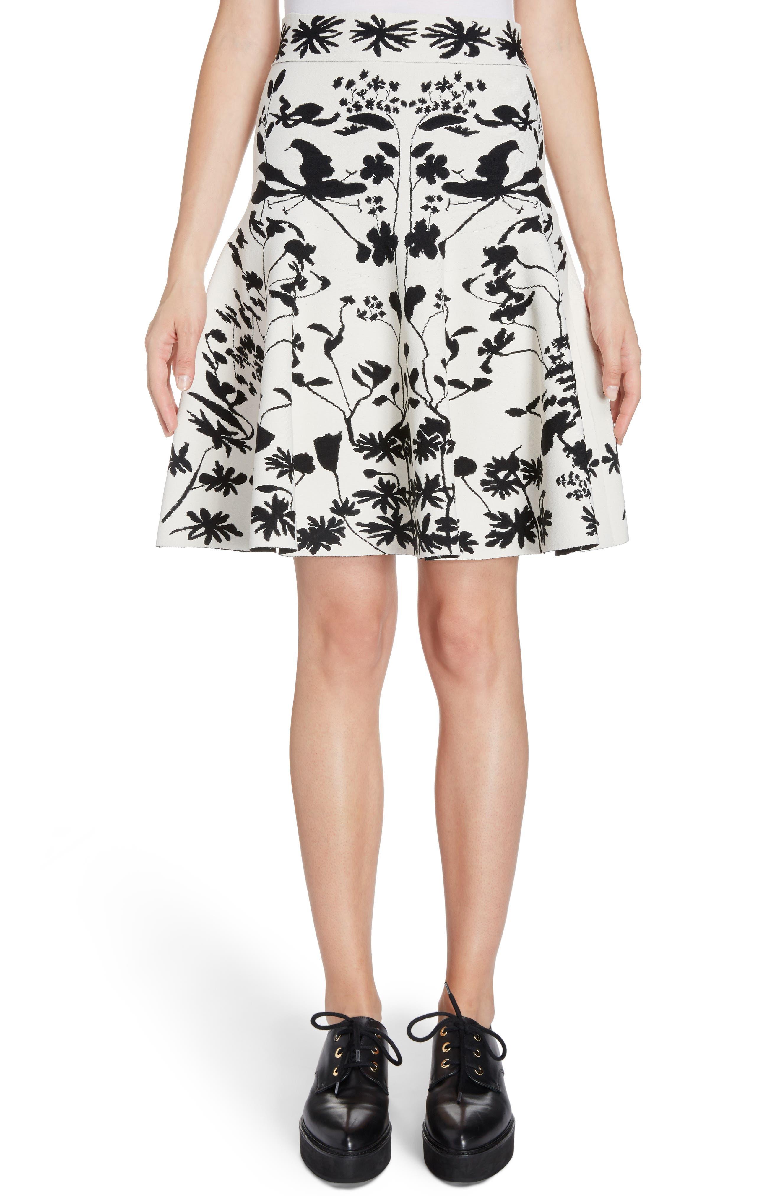 Botanical Jacquard Knit Flounce Skirt,                             Main thumbnail 1, color,                             Ivory/ Black