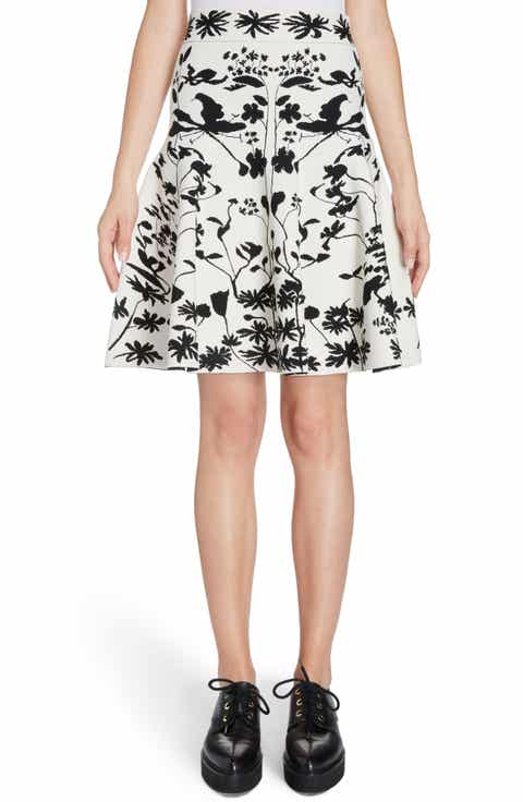 Alexander McQueen Botanical Jacquard Knit Flounce Skirt