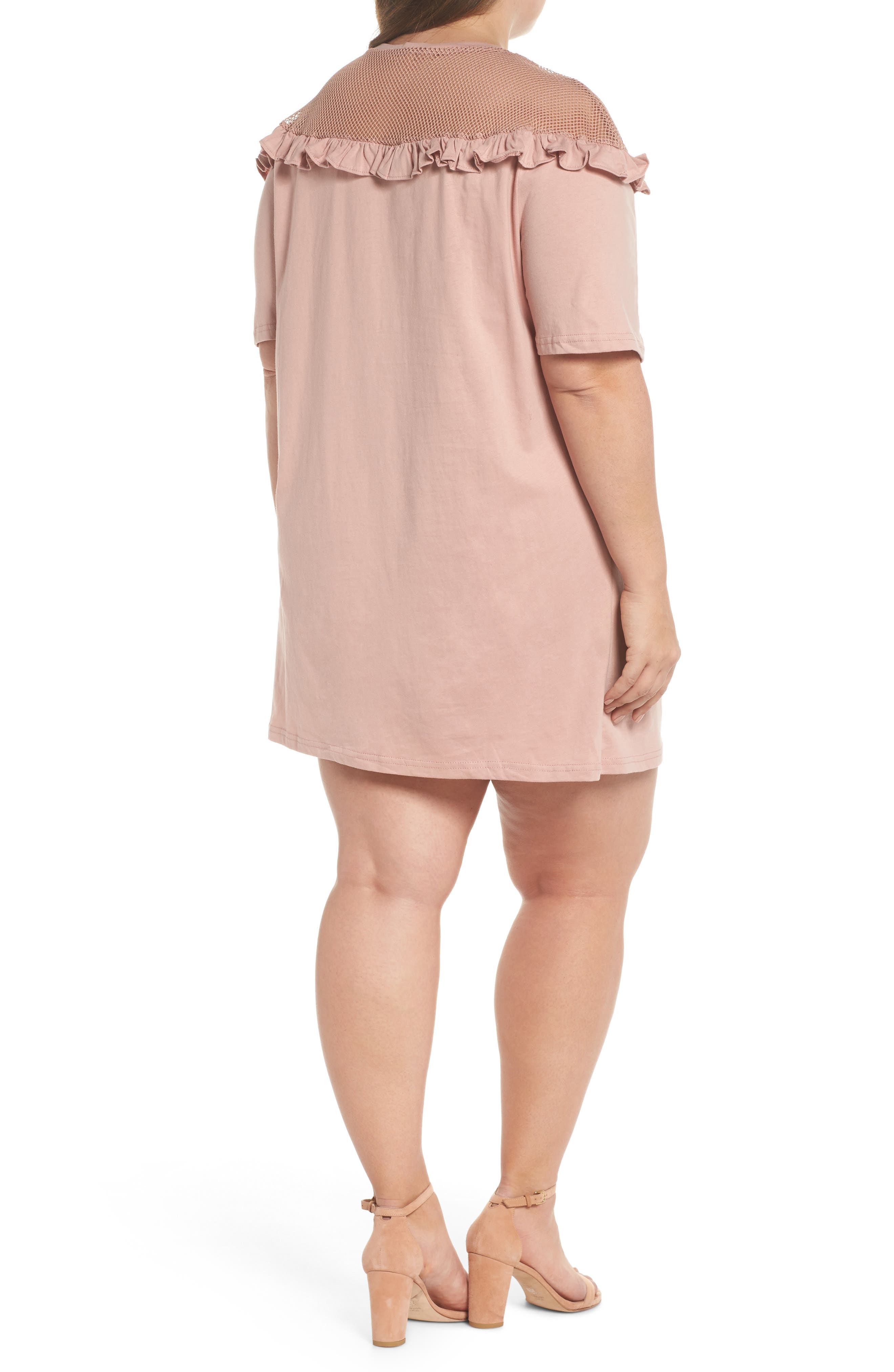 Illusion Neck Shift Dress,                             Alternate thumbnail 2, color,                             Dusty Pink