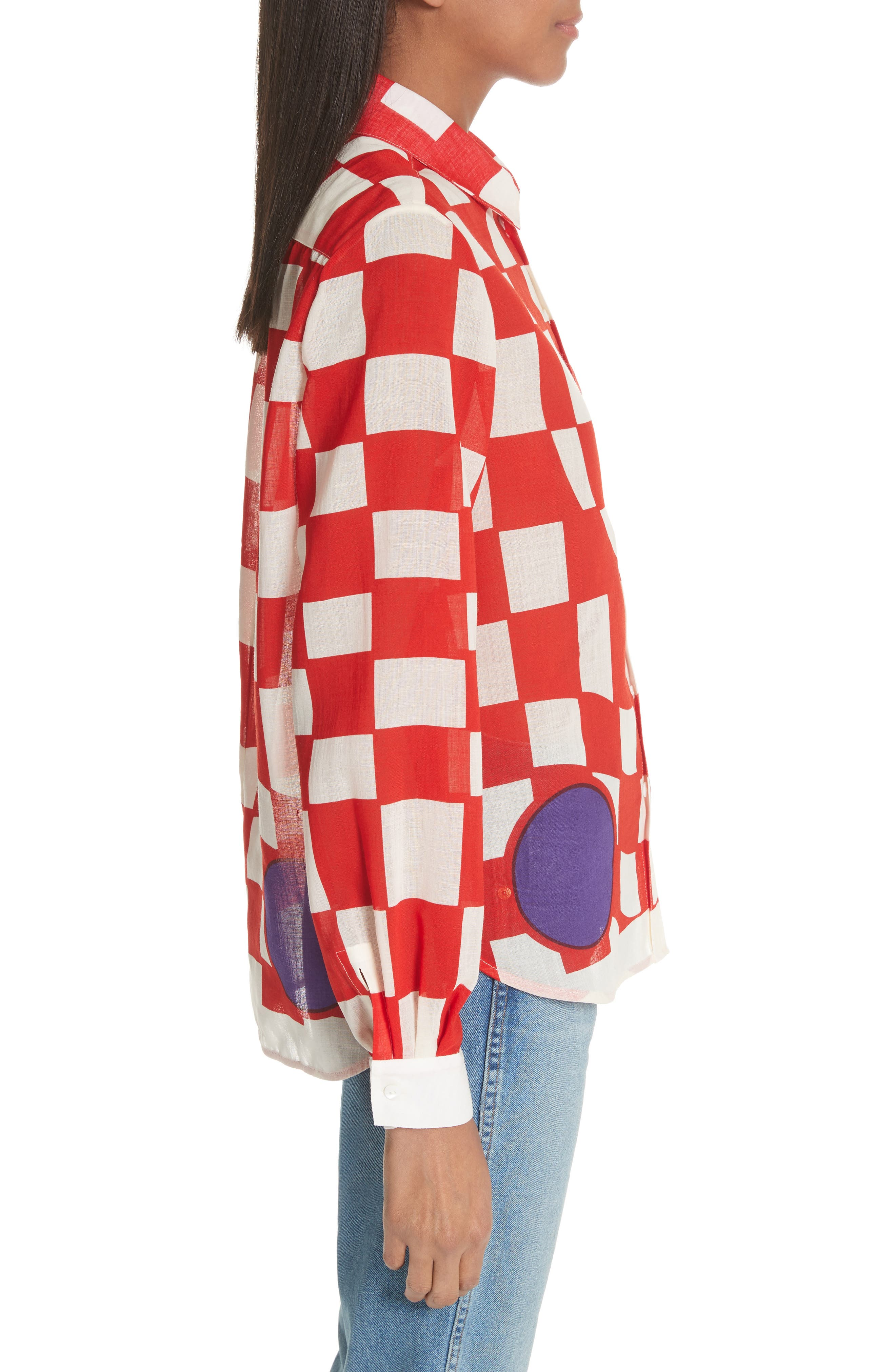 Checkerboard Print Blouse,                             Alternate thumbnail 3, color,                             Pillar Box Red