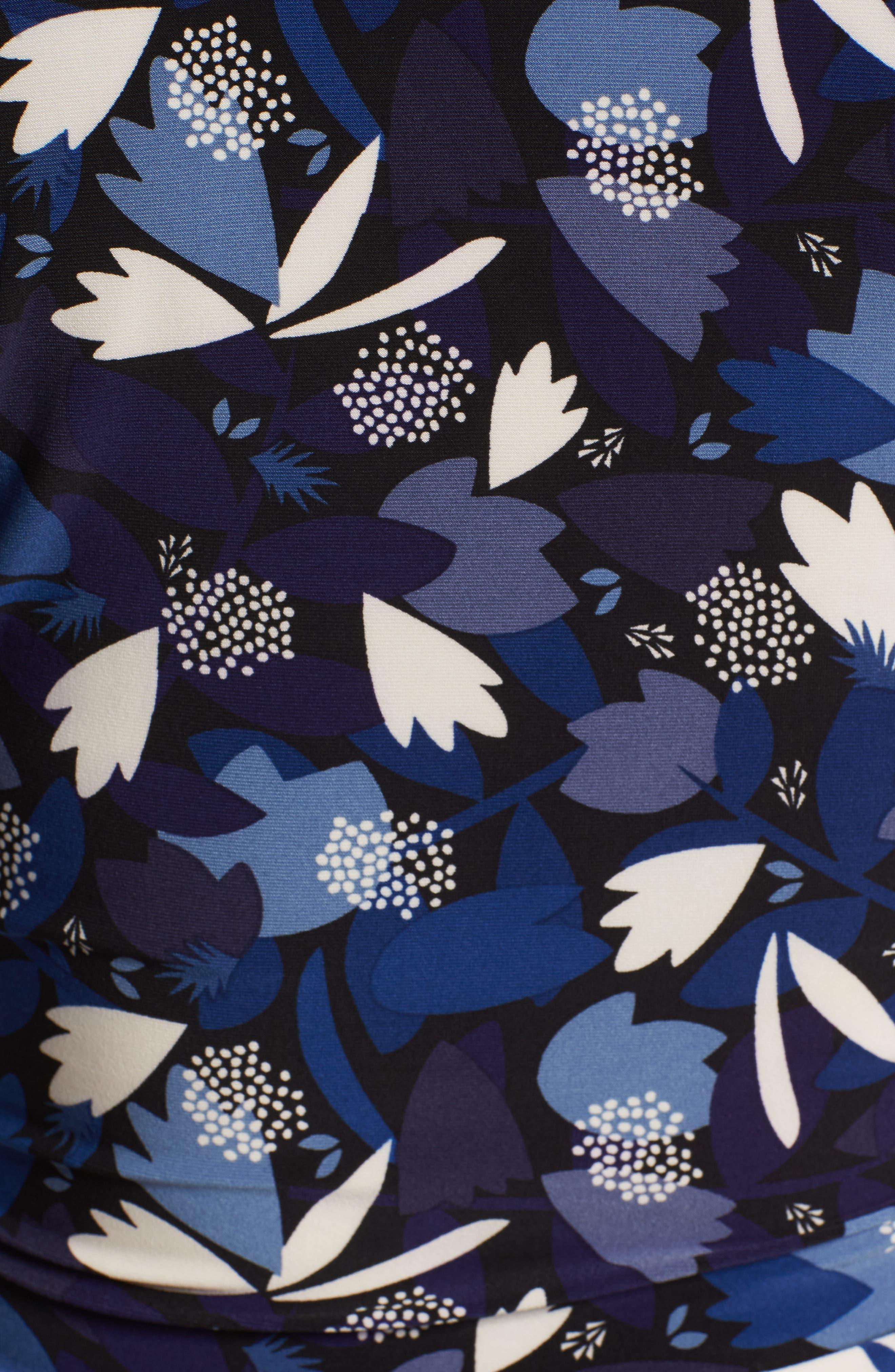 Amalfi Print Faux Wrap Top,                             Alternate thumbnail 6, color,                             Black/ Monaco Combo