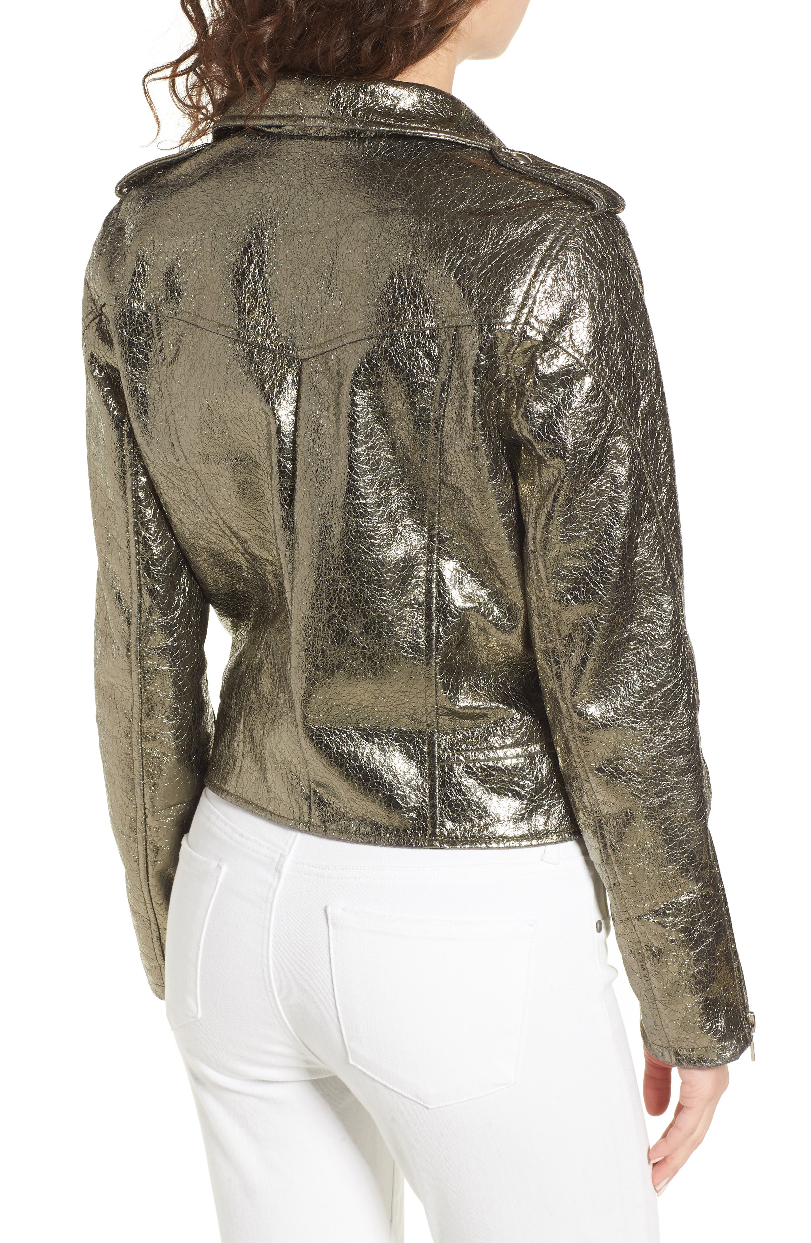 Metallic Faux Leather Moto Jacket,                             Alternate thumbnail 3, color,                             Turning Heads