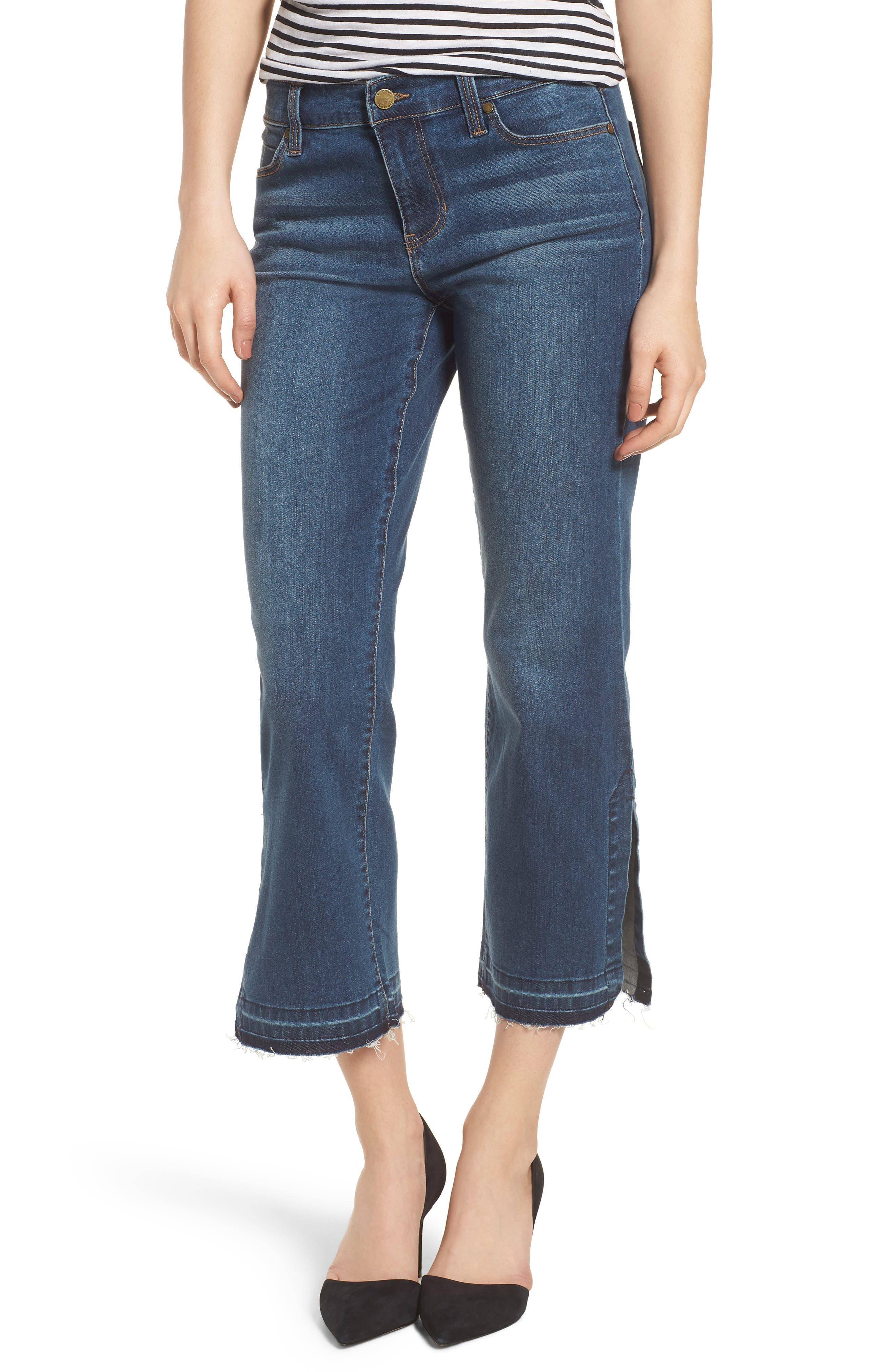 Tabitha Release Hem Crop Jeans,                             Main thumbnail 1, color,                             Montauk Mid Blue