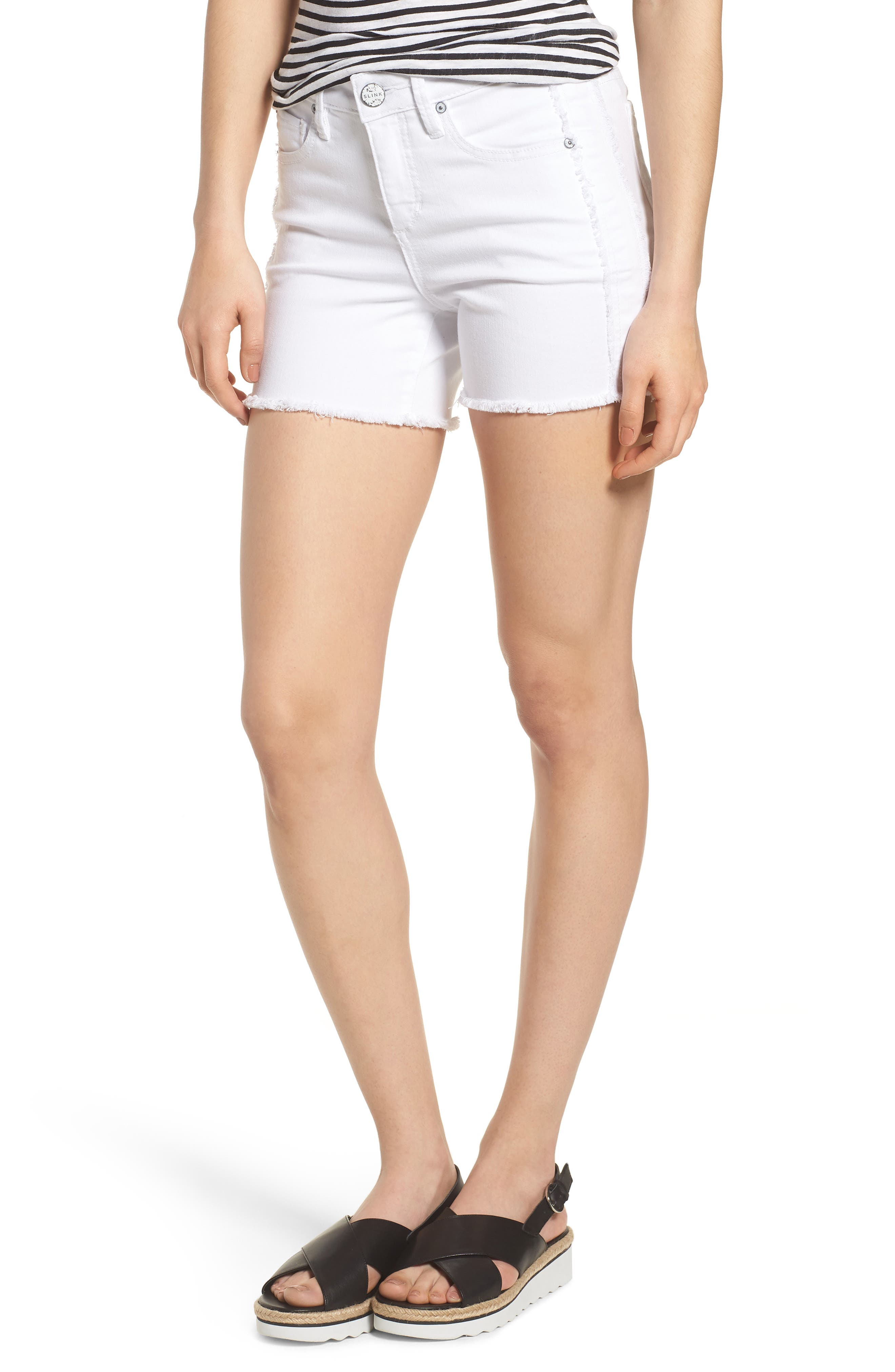 Tux Frayed Denim Shorts,                         Main,                         color, Jaime