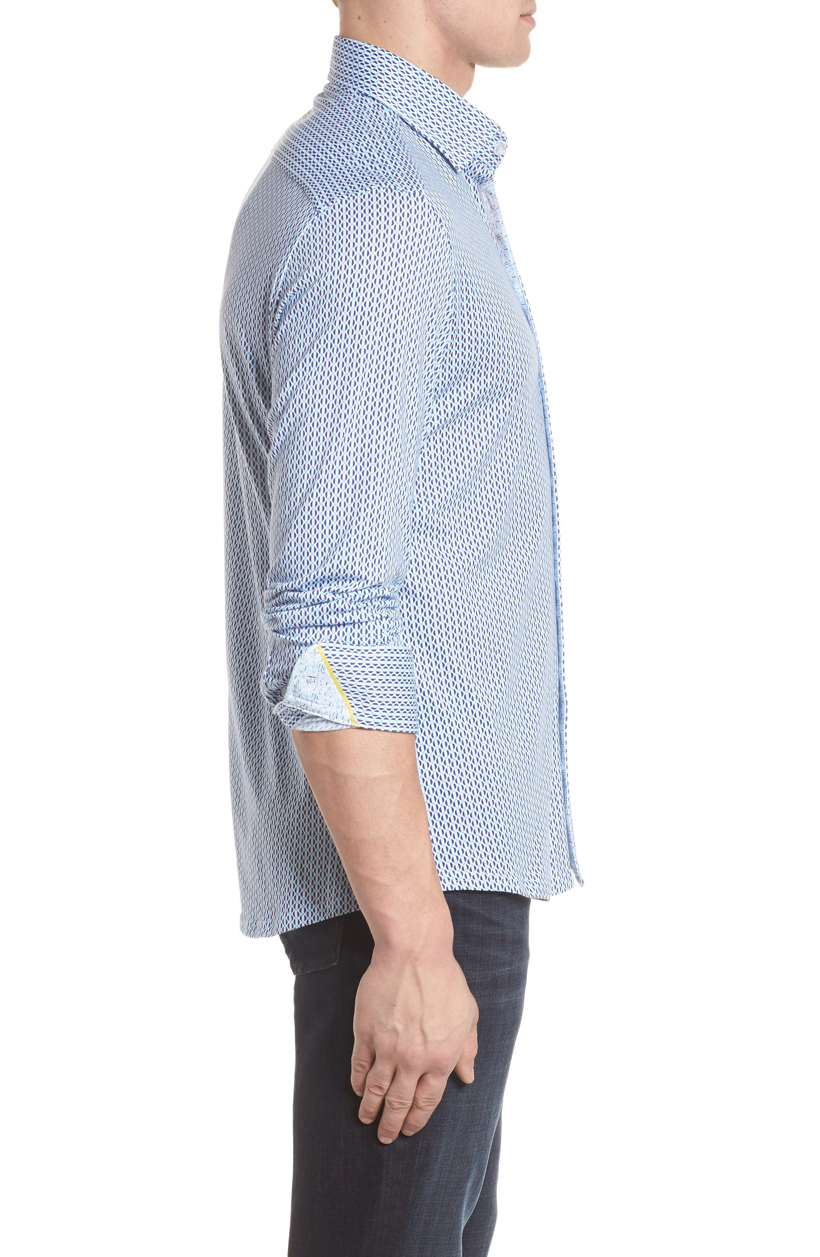 Contemporary Fit Geometric Print Sport Shirt,                             Alternate thumbnail 3, color,                             Turquoise