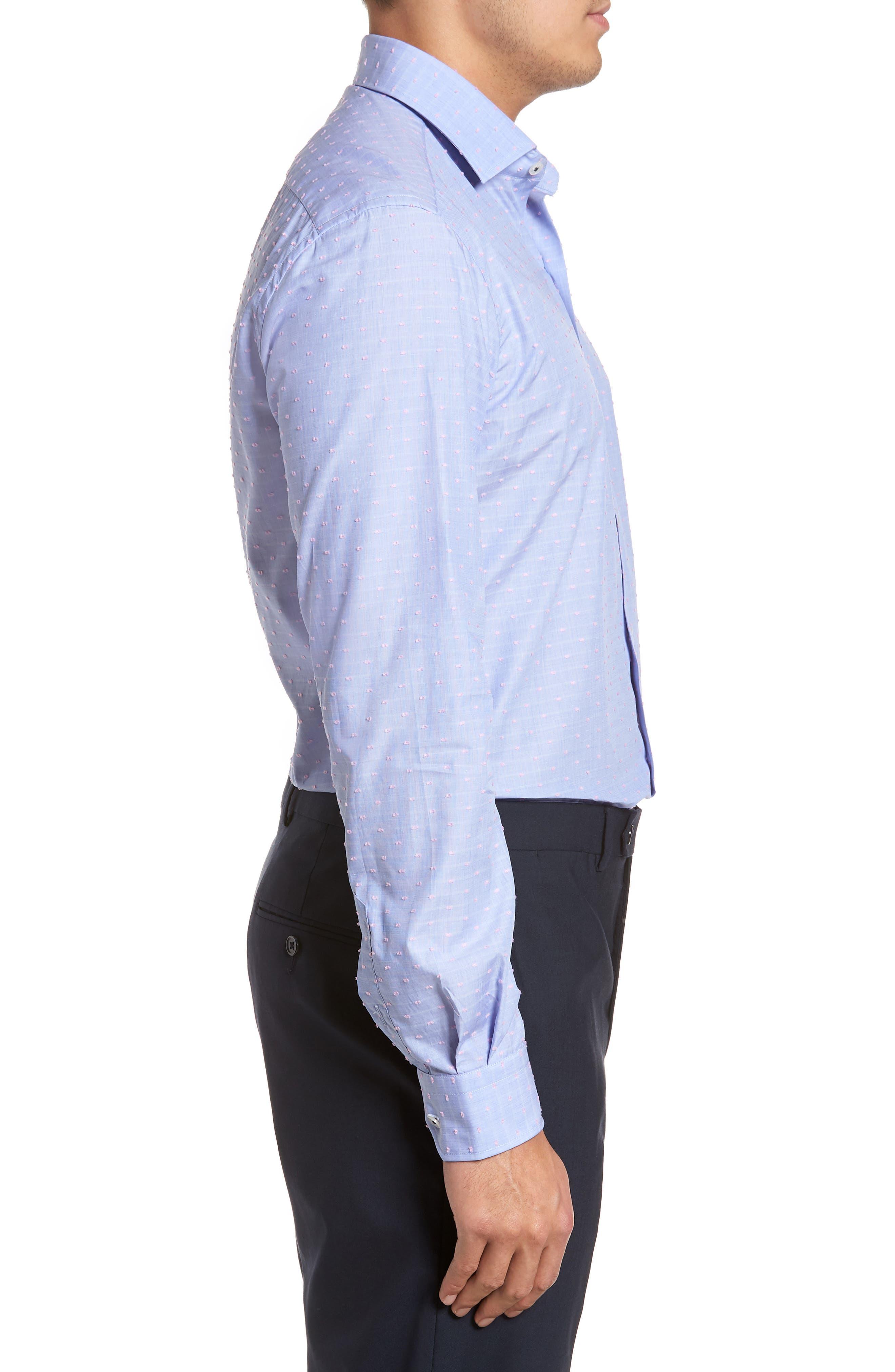 Tailored Fit Soft Touch Fil Coupé Sport Shirt,                             Alternate thumbnail 3, color,                             Blue